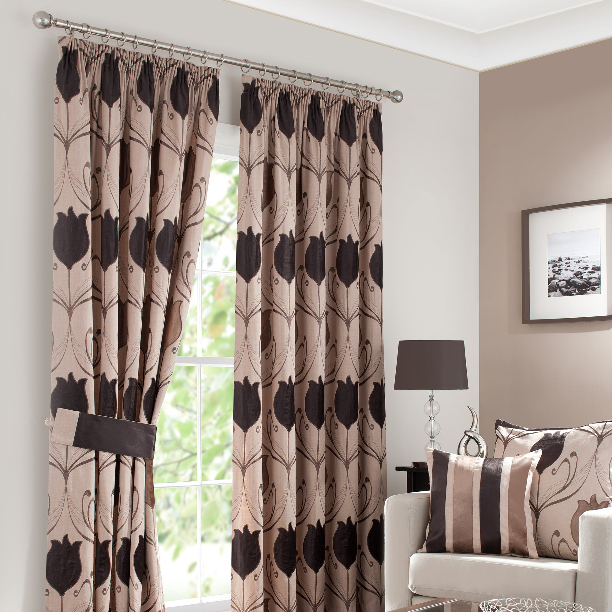 Chocolate Lalique Lined Pencil Pleat Curtains