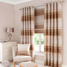 Biscuit Portobello Lined Eyelet Curtains