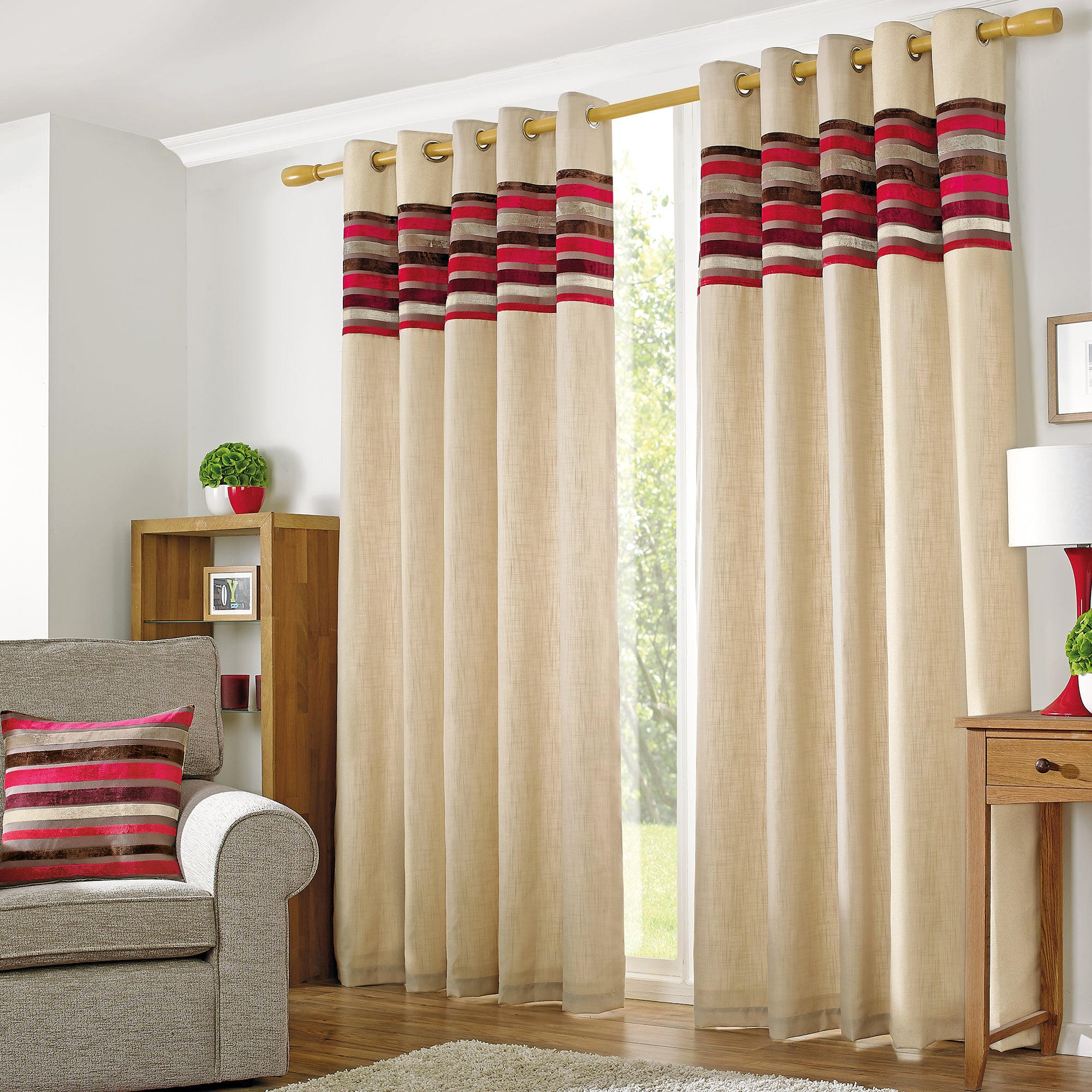 Red Albury Lined Eyelet Curtains