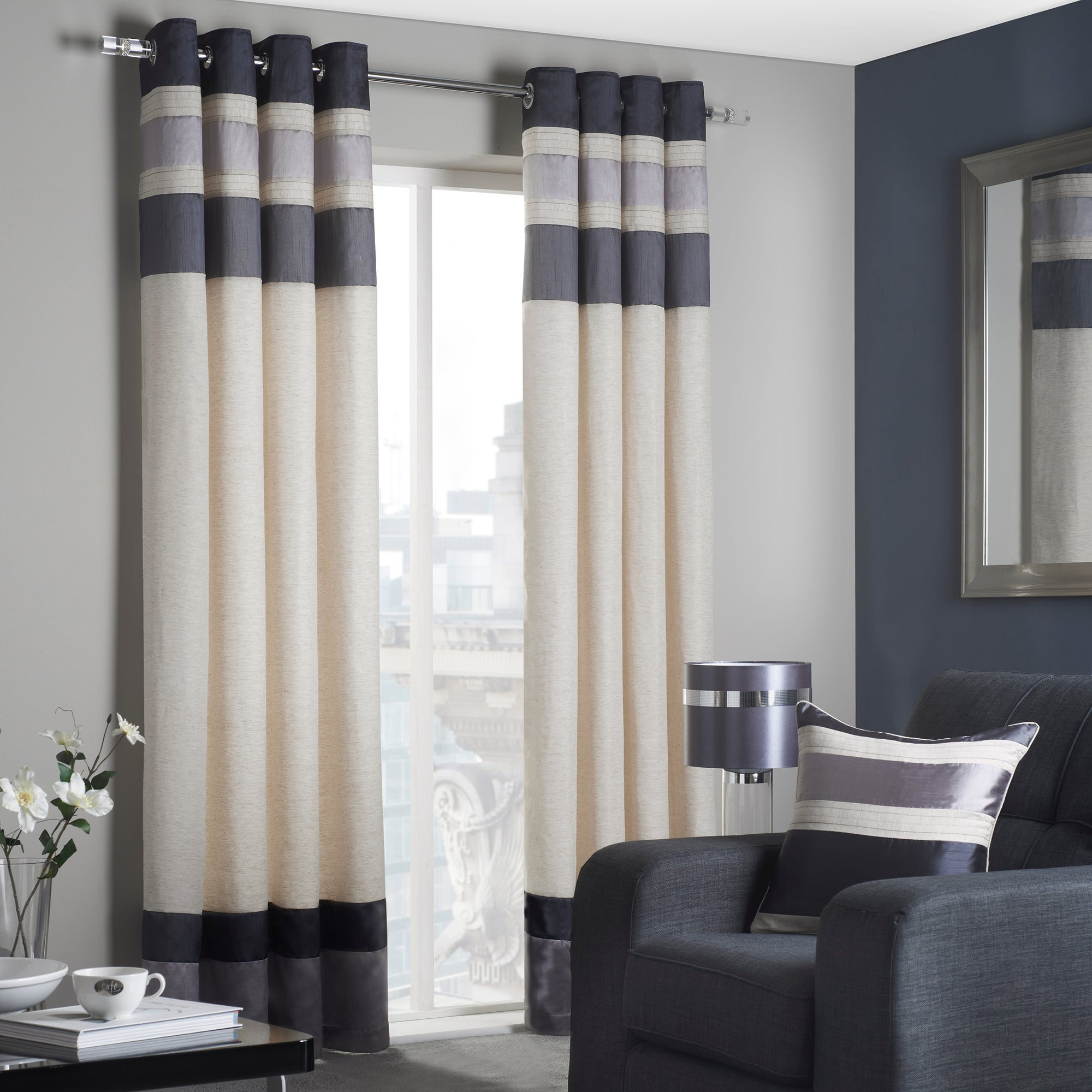Charcoal Alban Lined Eyelet Curtains