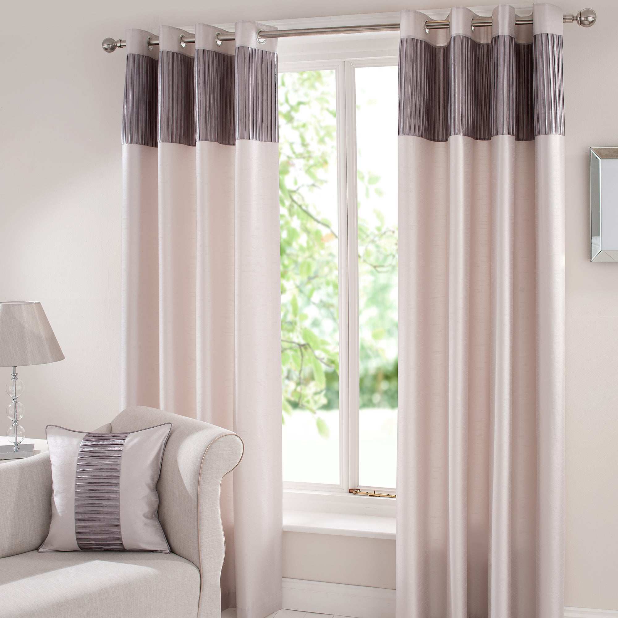 Silver Montreal Lined Eyelet Curtains