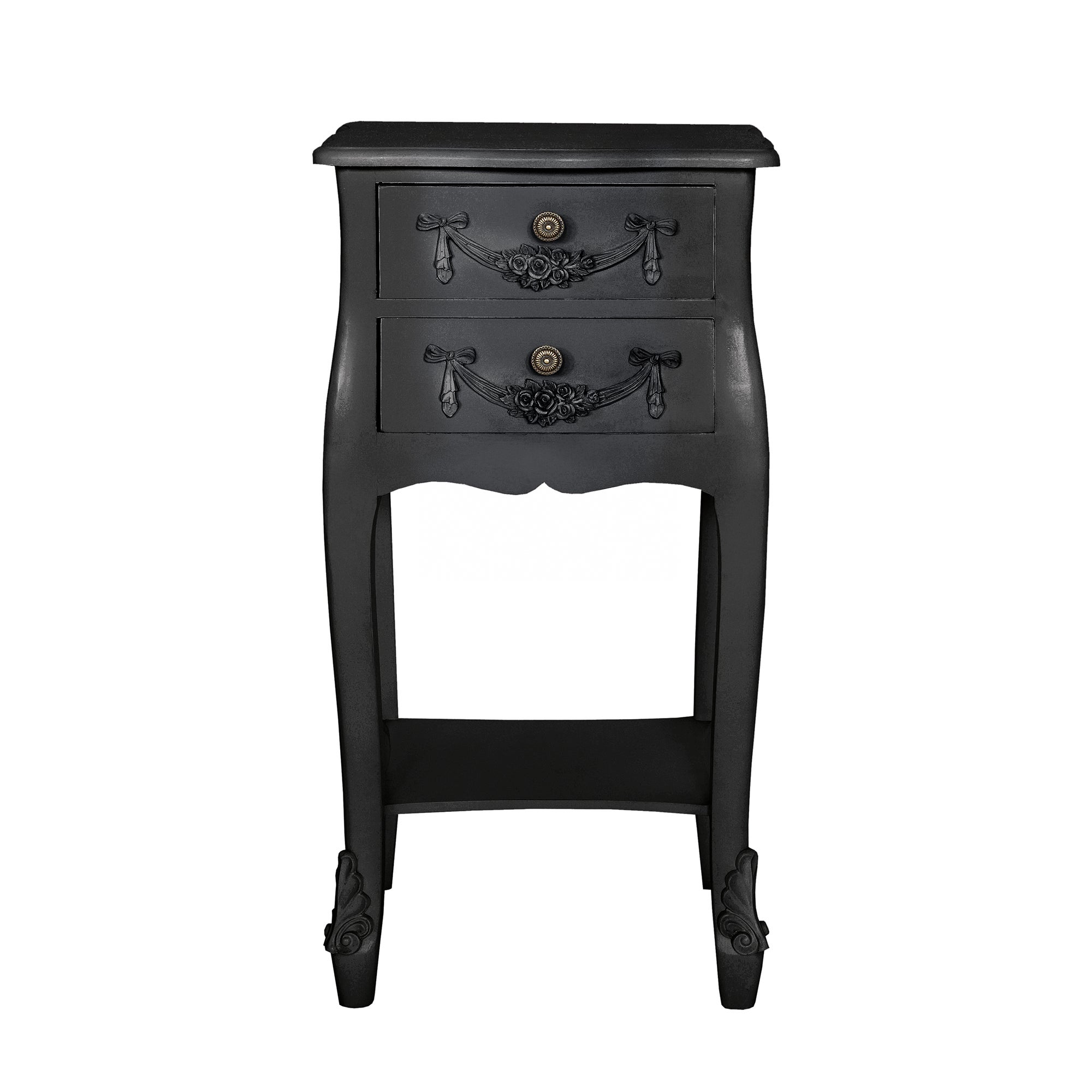Toulouse Black 2 Drawer Nightstand