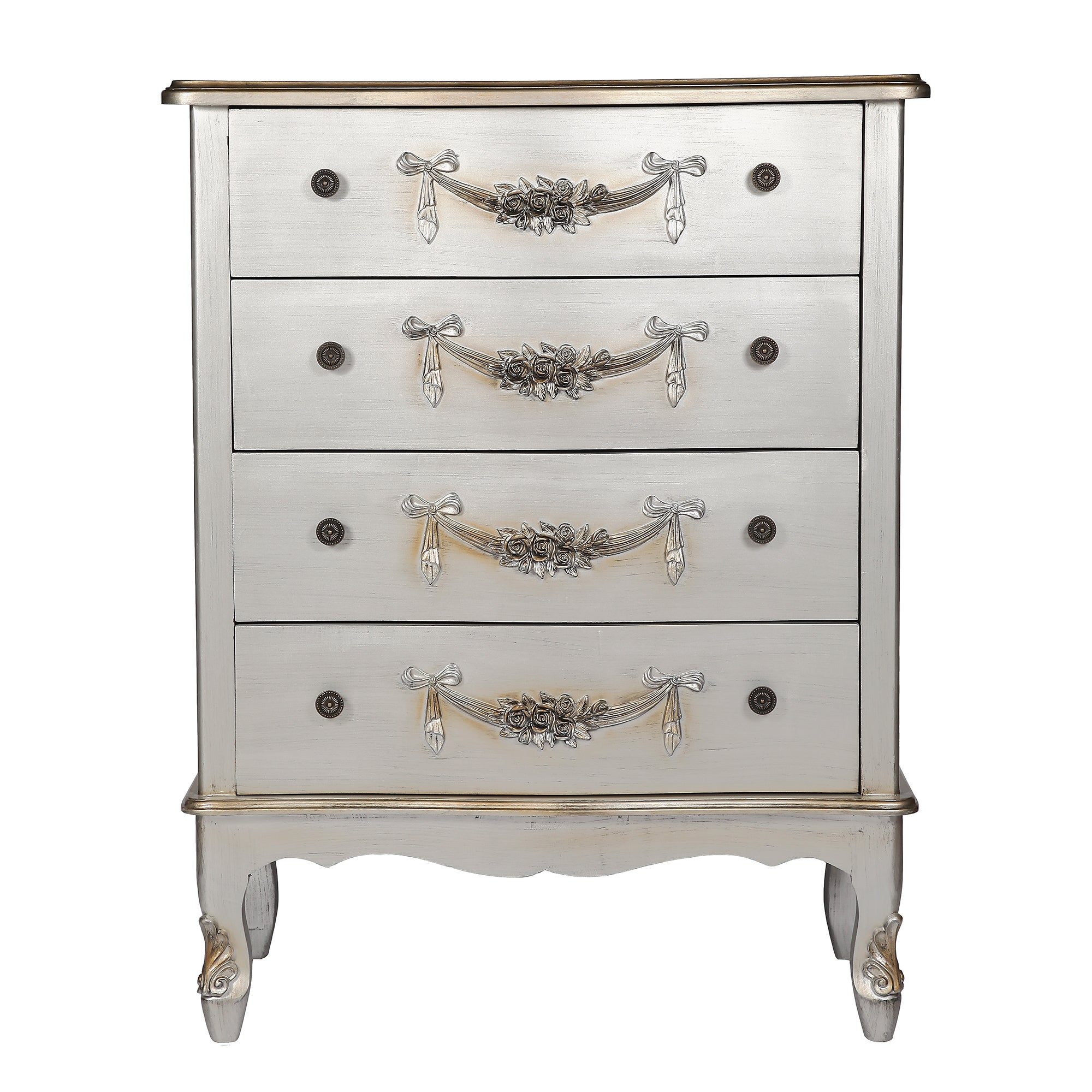 Toulouse Silver Large 4 Drawer Chest