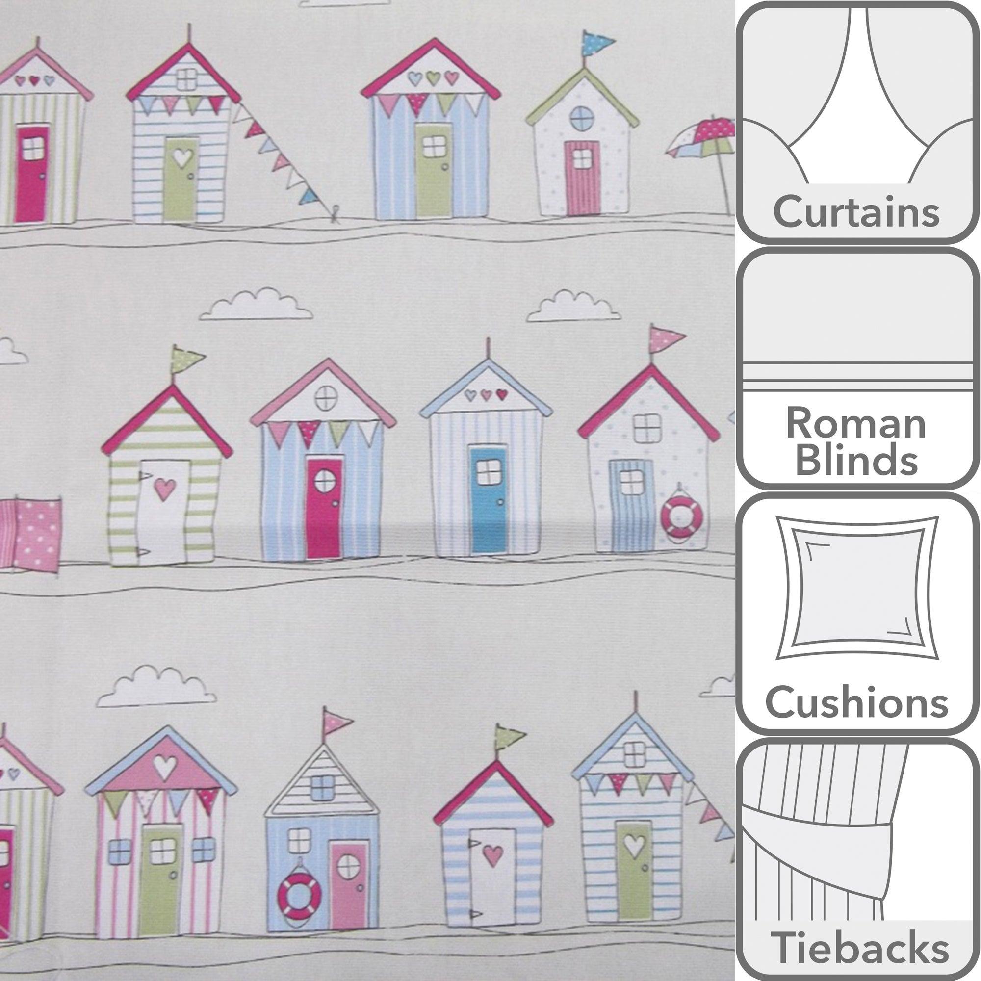 Beach Huts Printed Fabric