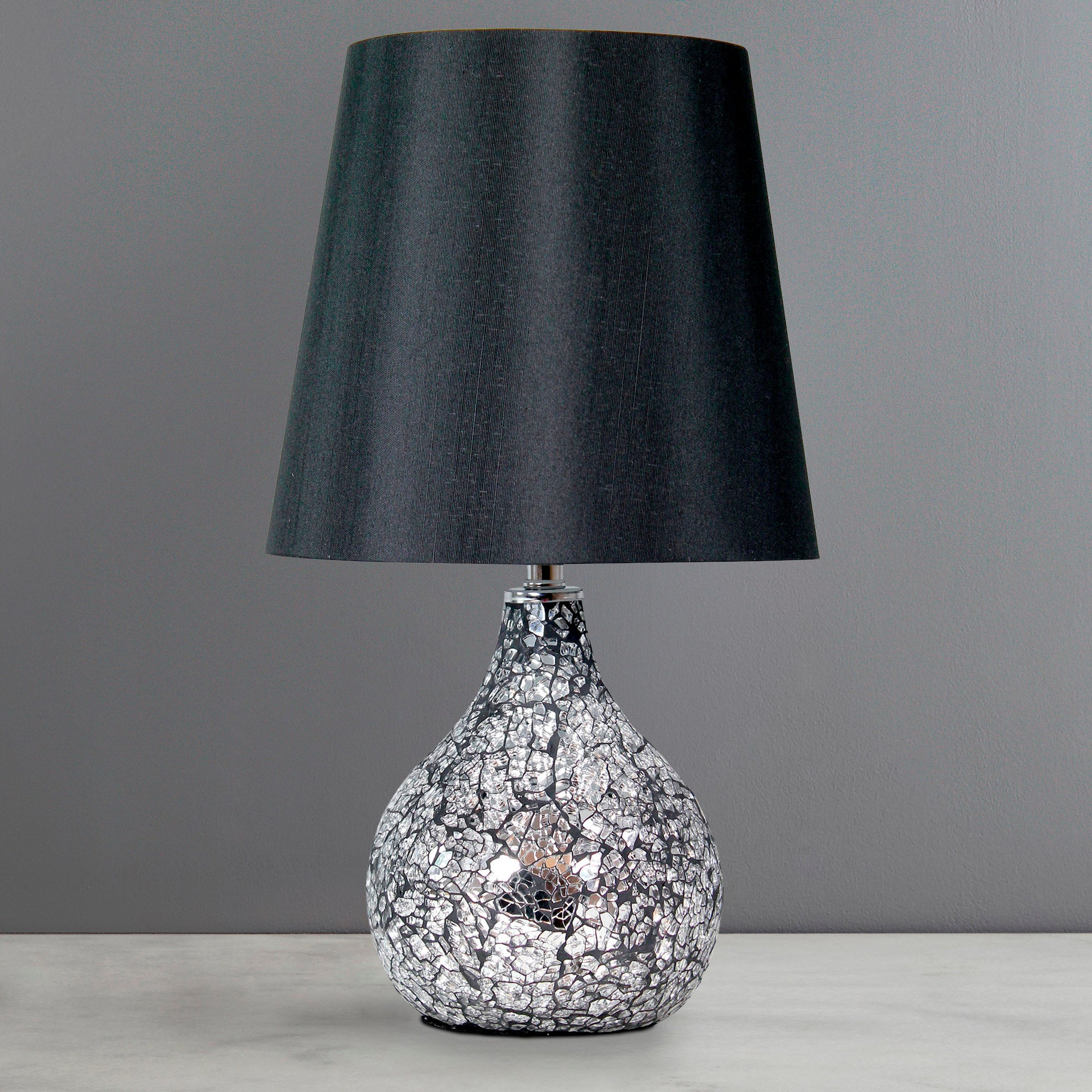 small crackle glass table lamp dunelm. Black Bedroom Furniture Sets. Home Design Ideas