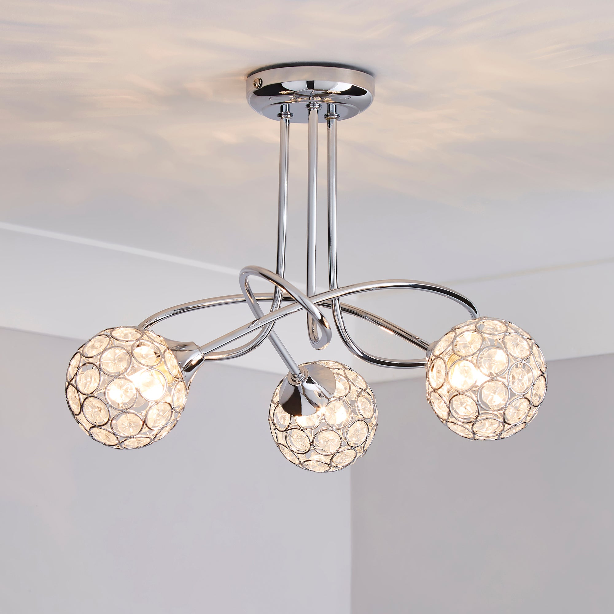Sphere Three Light Chrome Ceiling Fitting