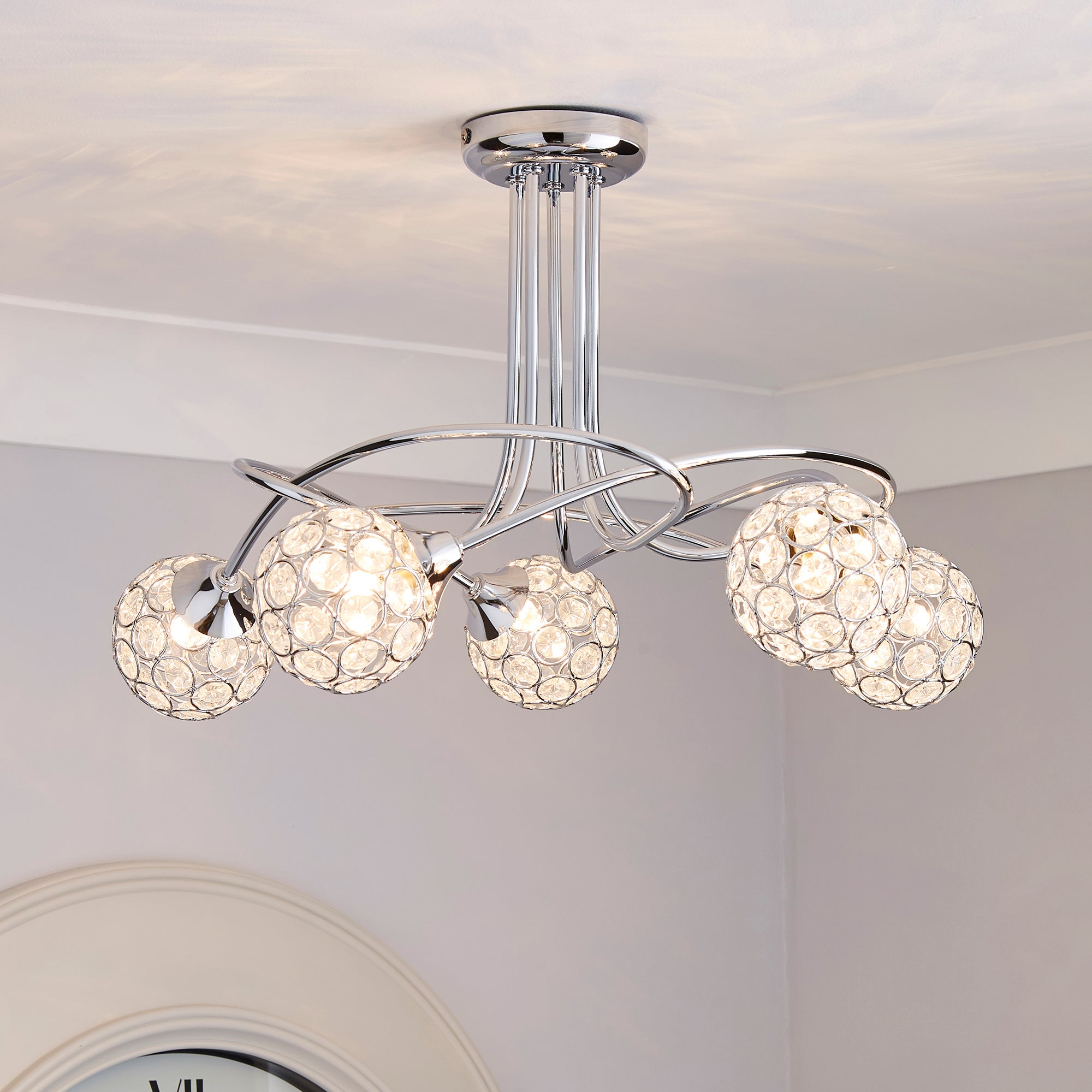 Sphere Five Light Chrome Ceiling Fitting