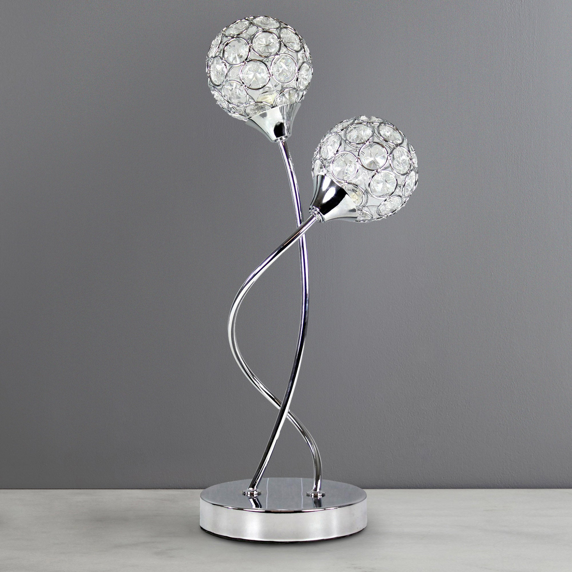 Sphere Two Light Chrome Table Lamp