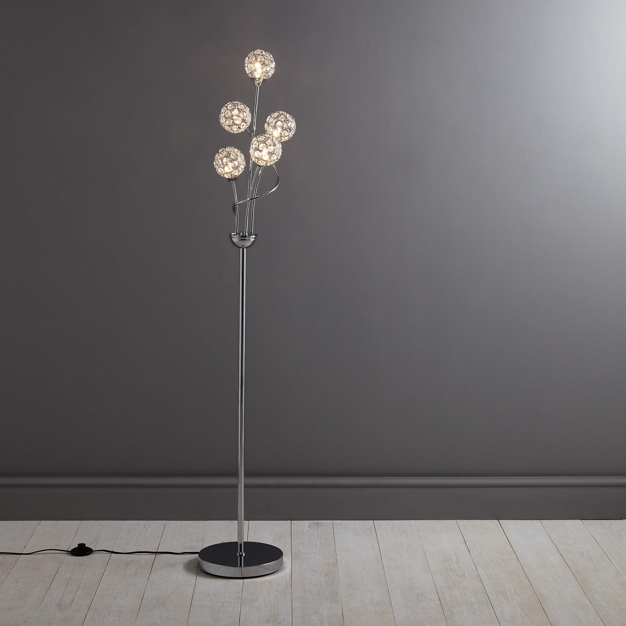 sphere five light chrome floor lamp dunelm. Black Bedroom Furniture Sets. Home Design Ideas