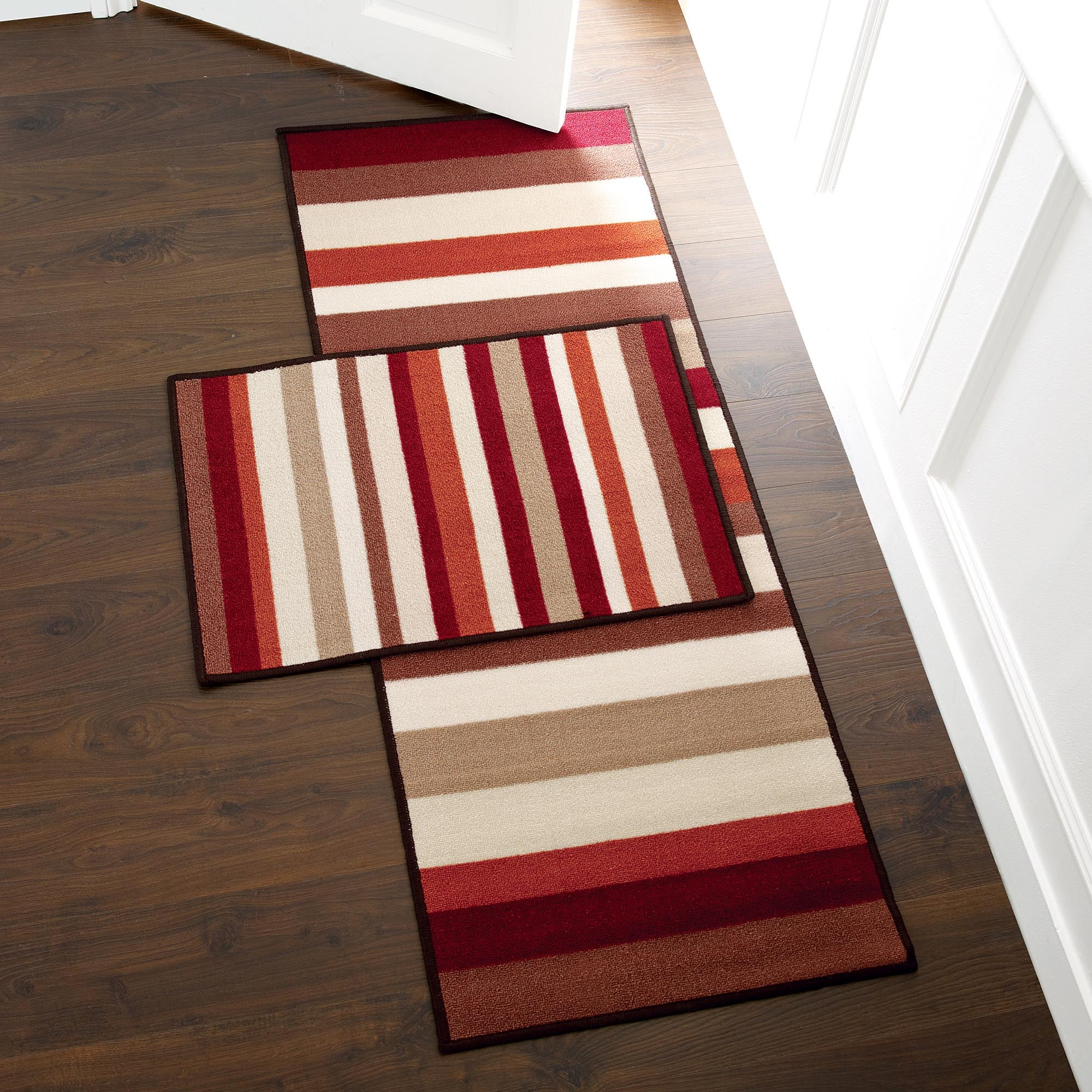 Rust Striped Washable Runner