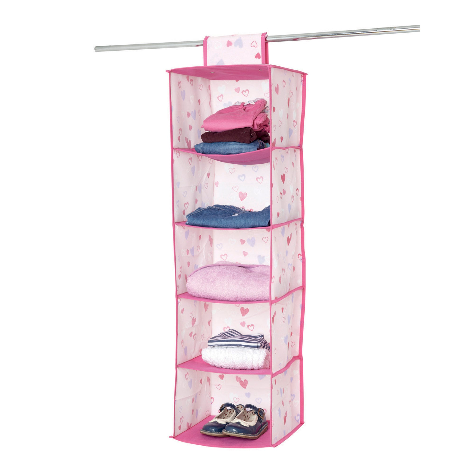 Kids Pink Hearts 5 Compartment Hanging Organiser