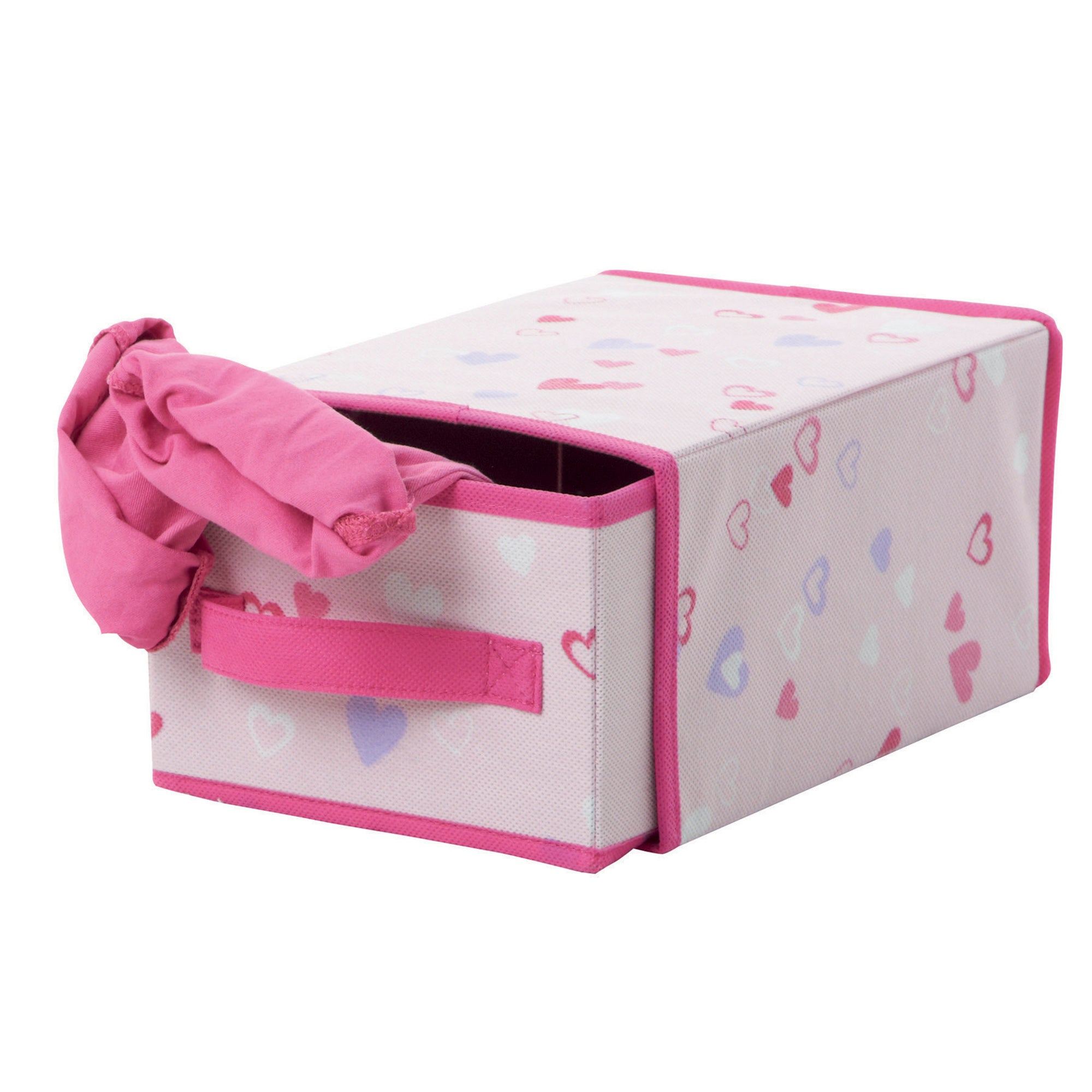 Kids Pink Hearts Single Drawer Storage Box
