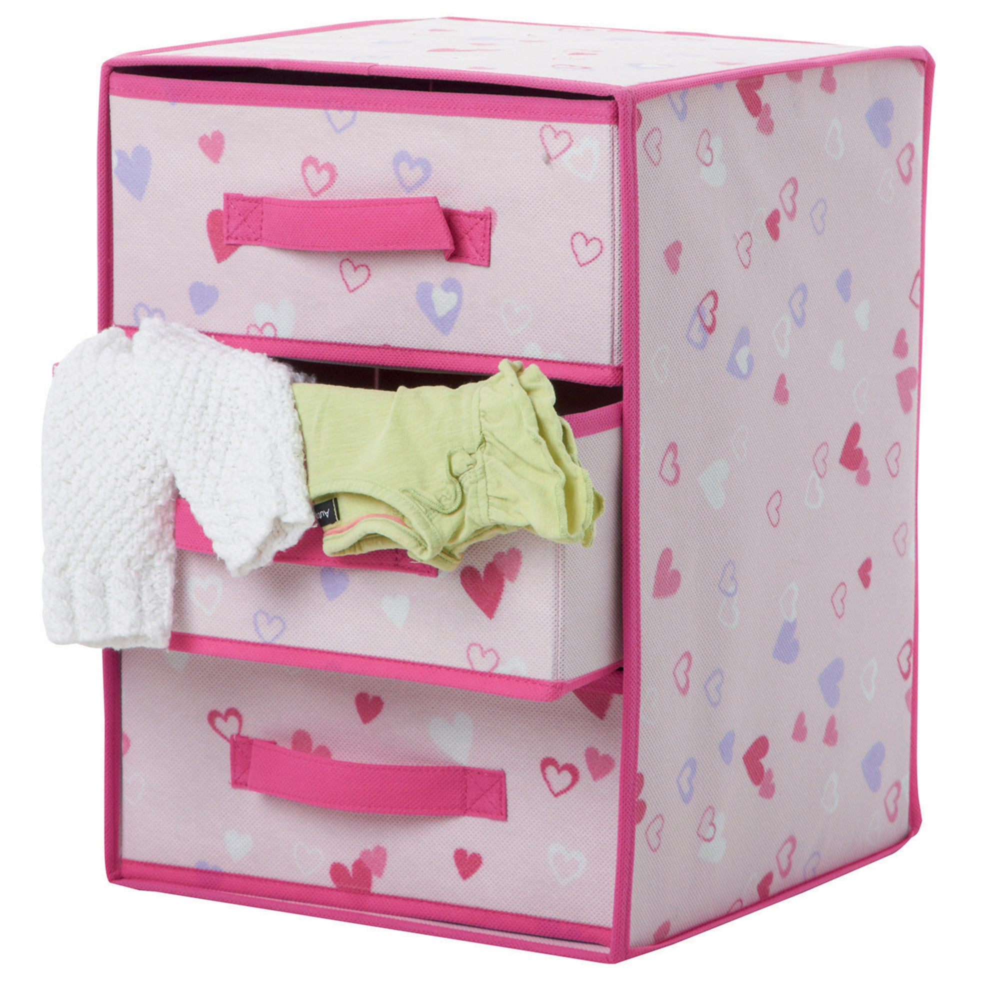 Kids Pink Hearts 3 Drawer Storage Box