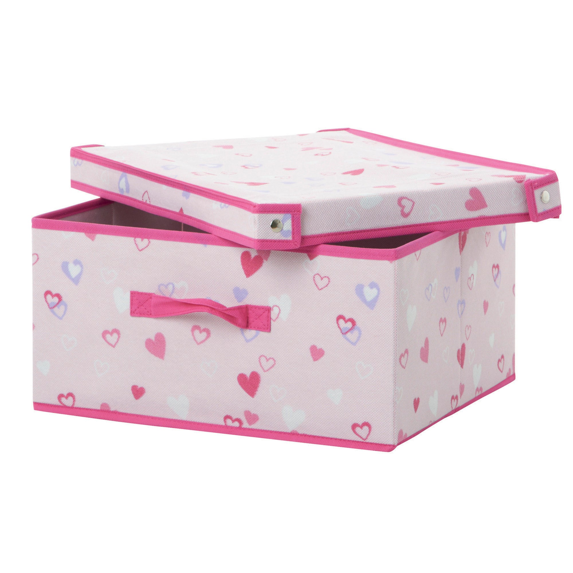 Kids Pink Hearts Storage Box with Lid