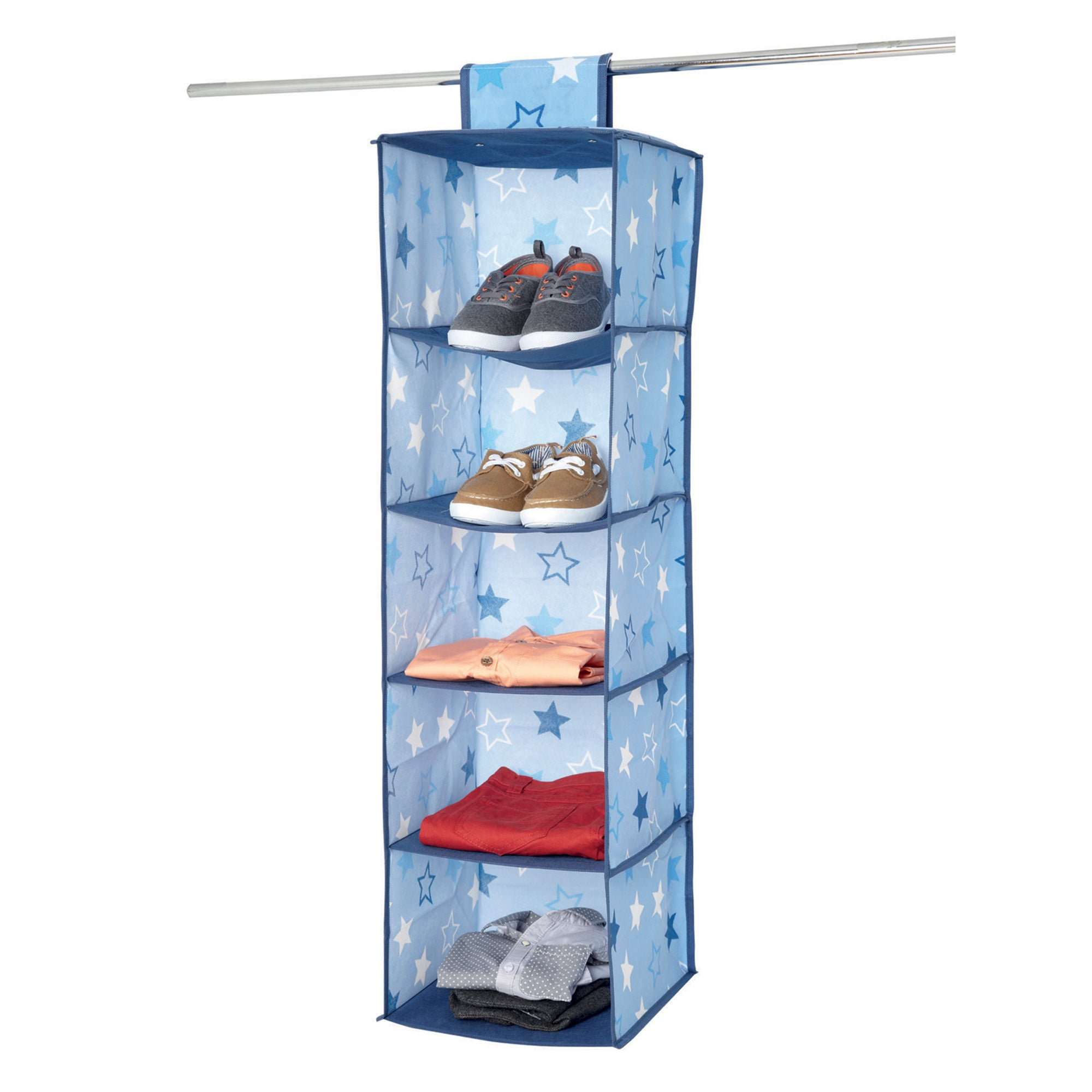 Blue Stars 5 Compartment Hanging Organiser