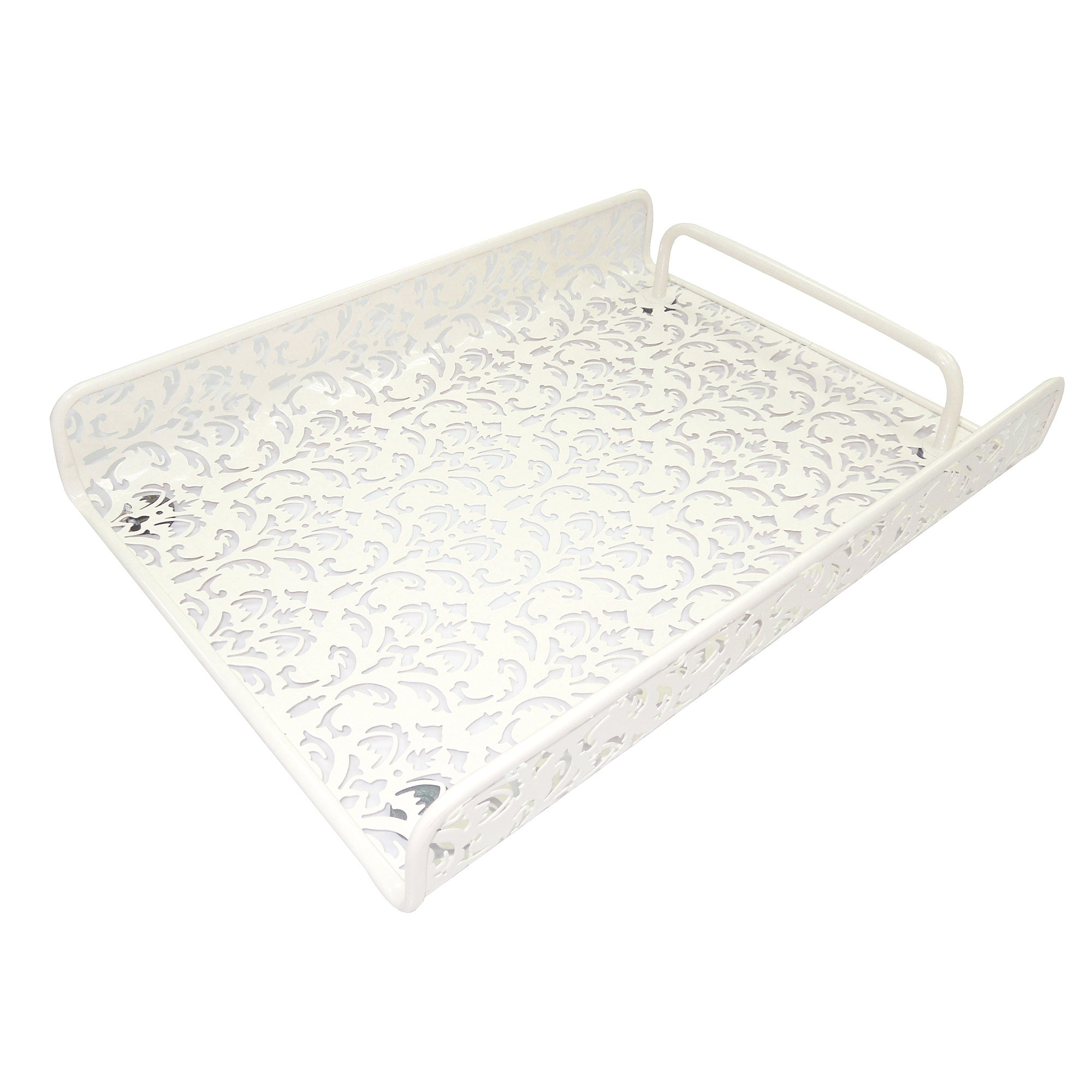 Cream Floral Collection Document Tray