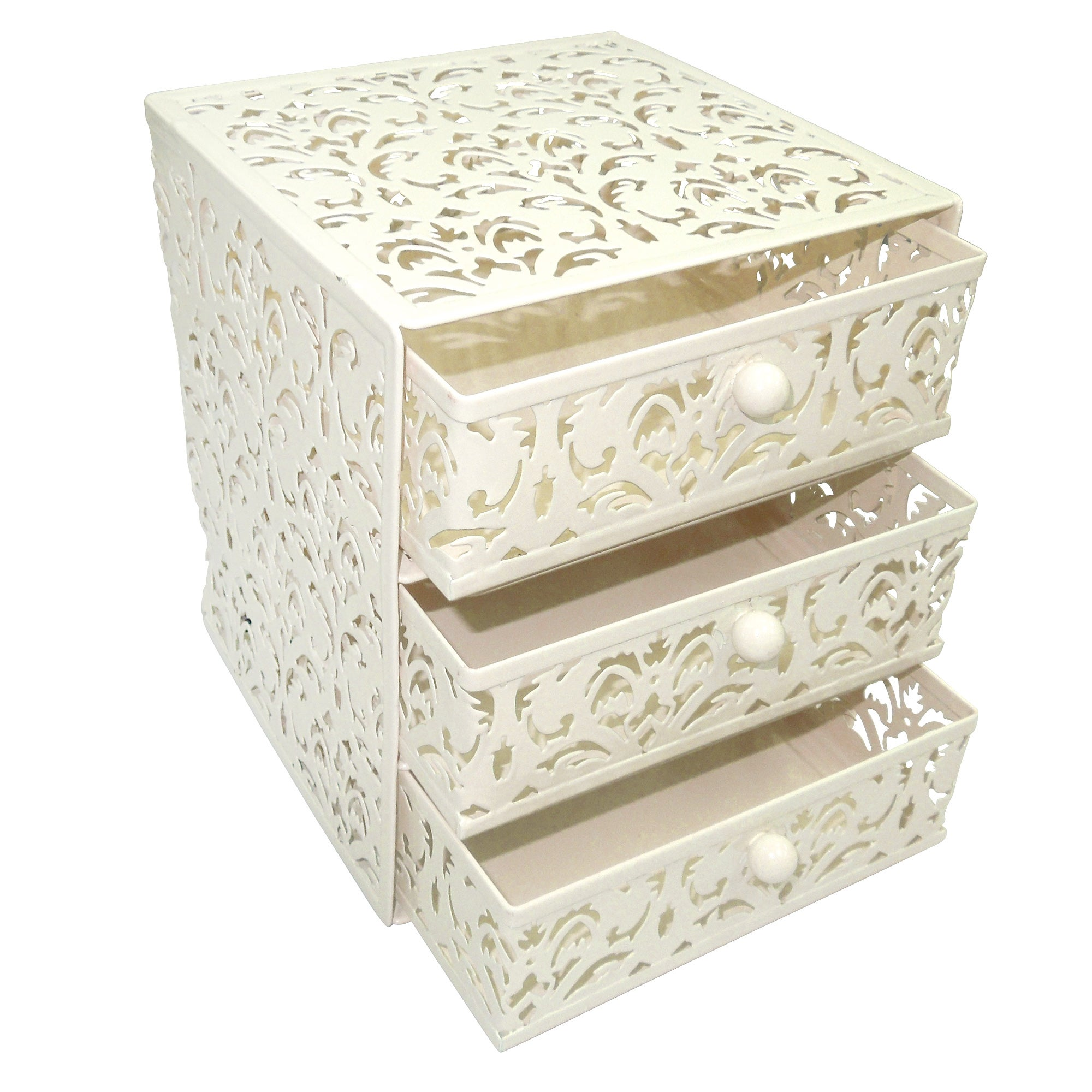 Cream Floral Collection 3 Tier Drawer Unit