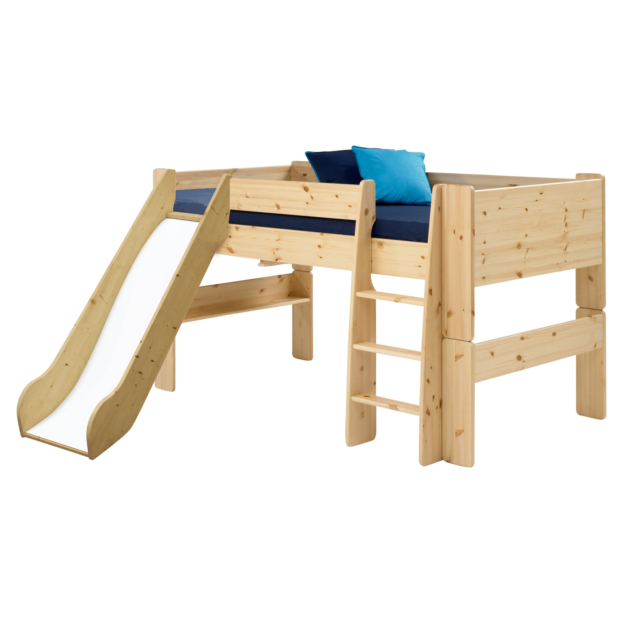 Kids Harper Pine Mid Sleeper Bed Frame with Slide