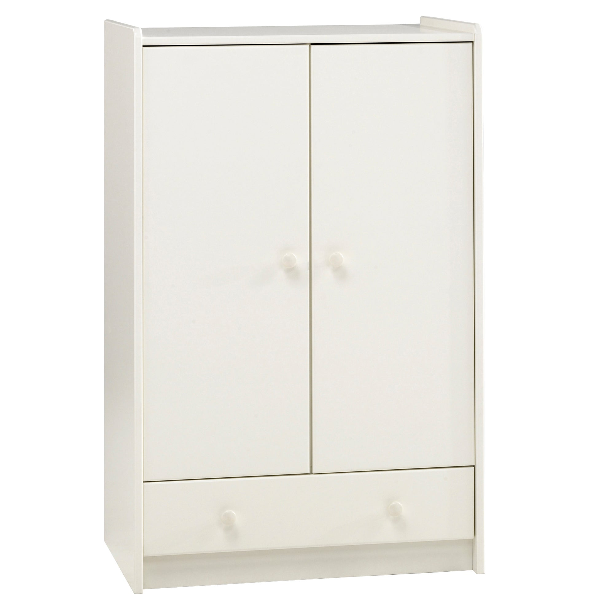 Kids Harper White Low Wardrobe with Drawer