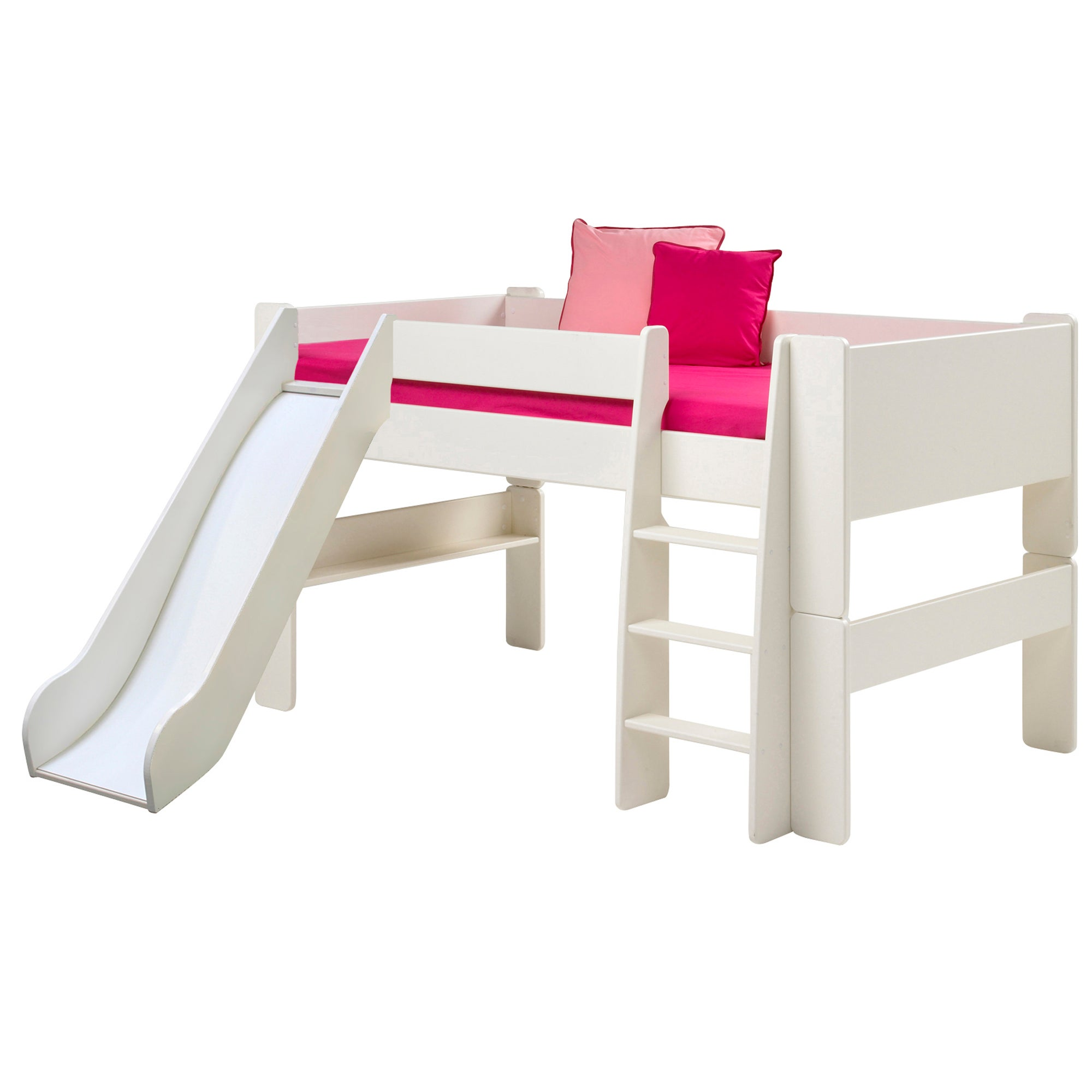 Kids Harper White Mid Sleeper Bed Frame with Slide