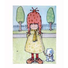 Artistic Britain Kids Girl And Dog Canvas