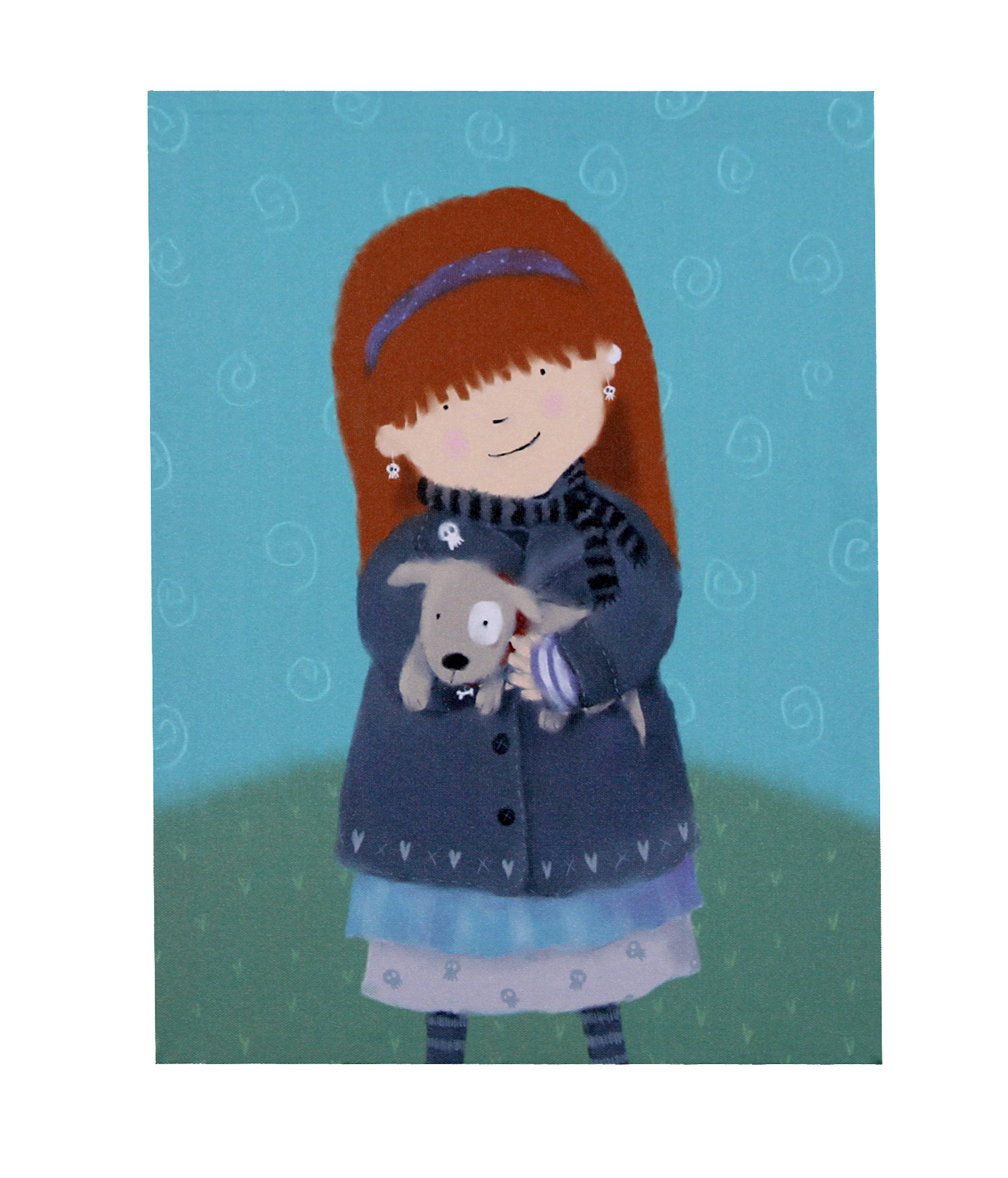 Artistic Britain Kids Beth with Dog Printed Canvas