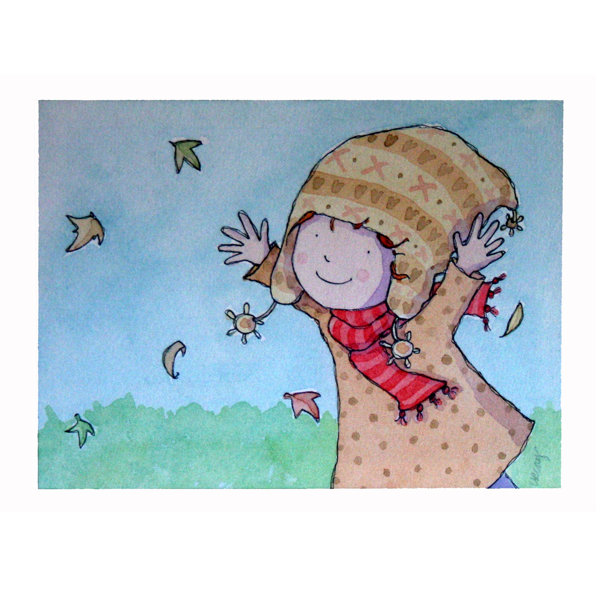 Artistic Britain Kids Chasing Leaves Printed Canvas