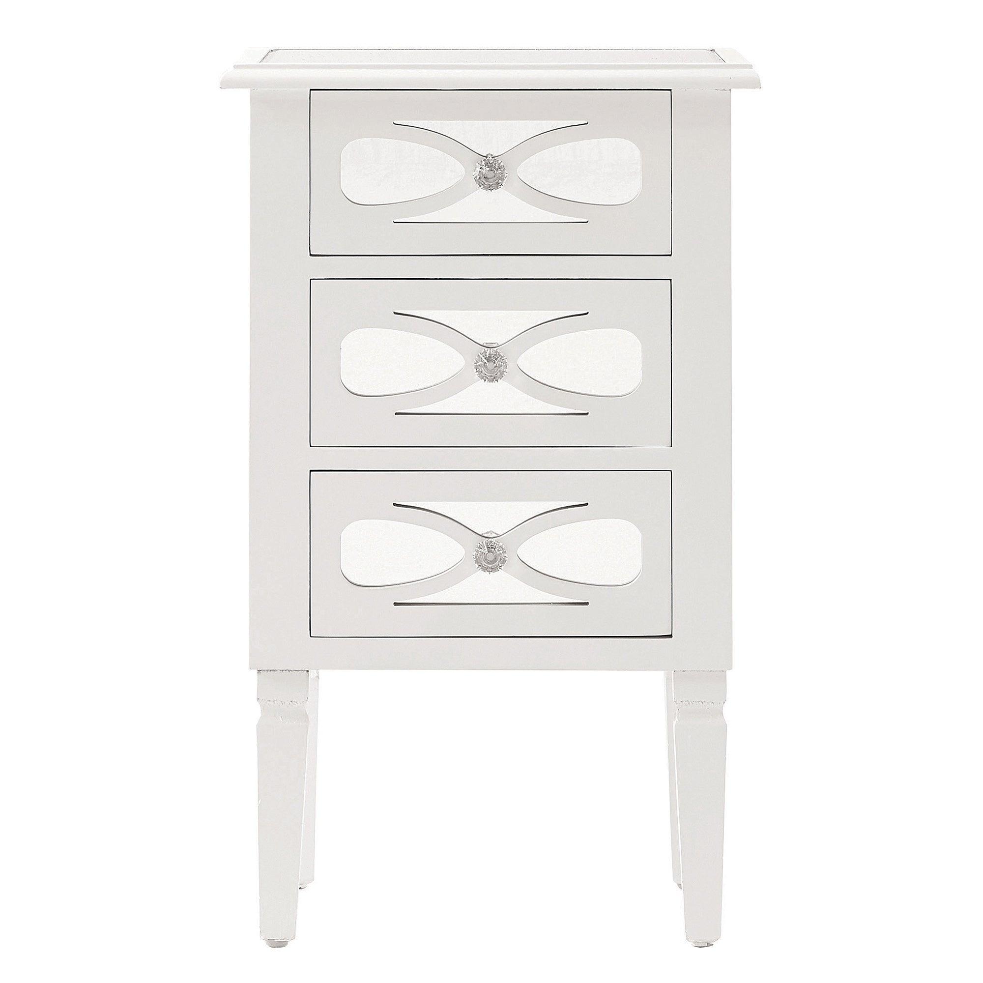 Nouveau White 3 Drawer Bedside Cabinet