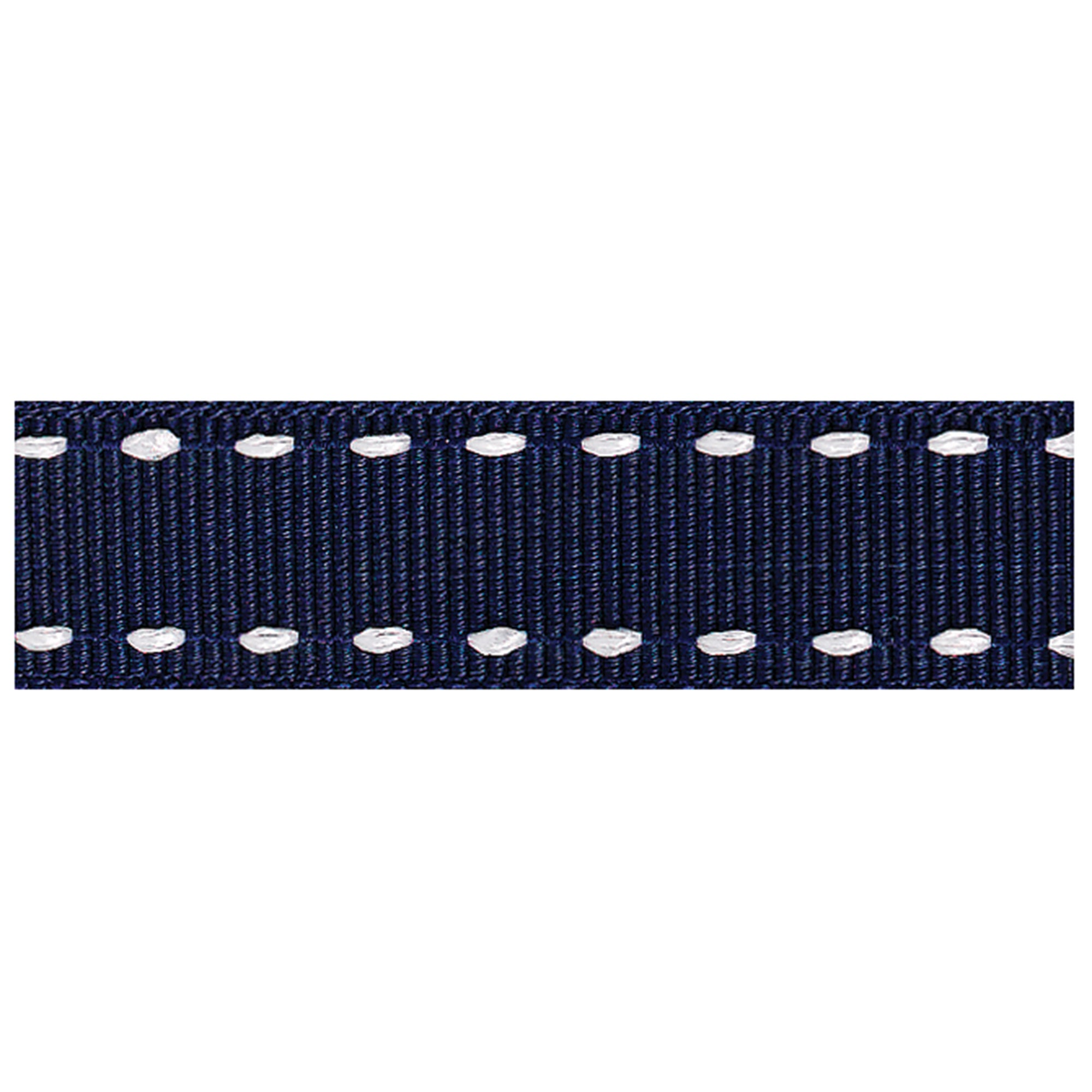 Navy Stitched Grosgrain Ribbon