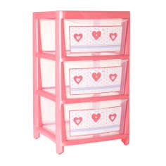 Kids Pink Cute As Button Collection 3 Drawer Tower