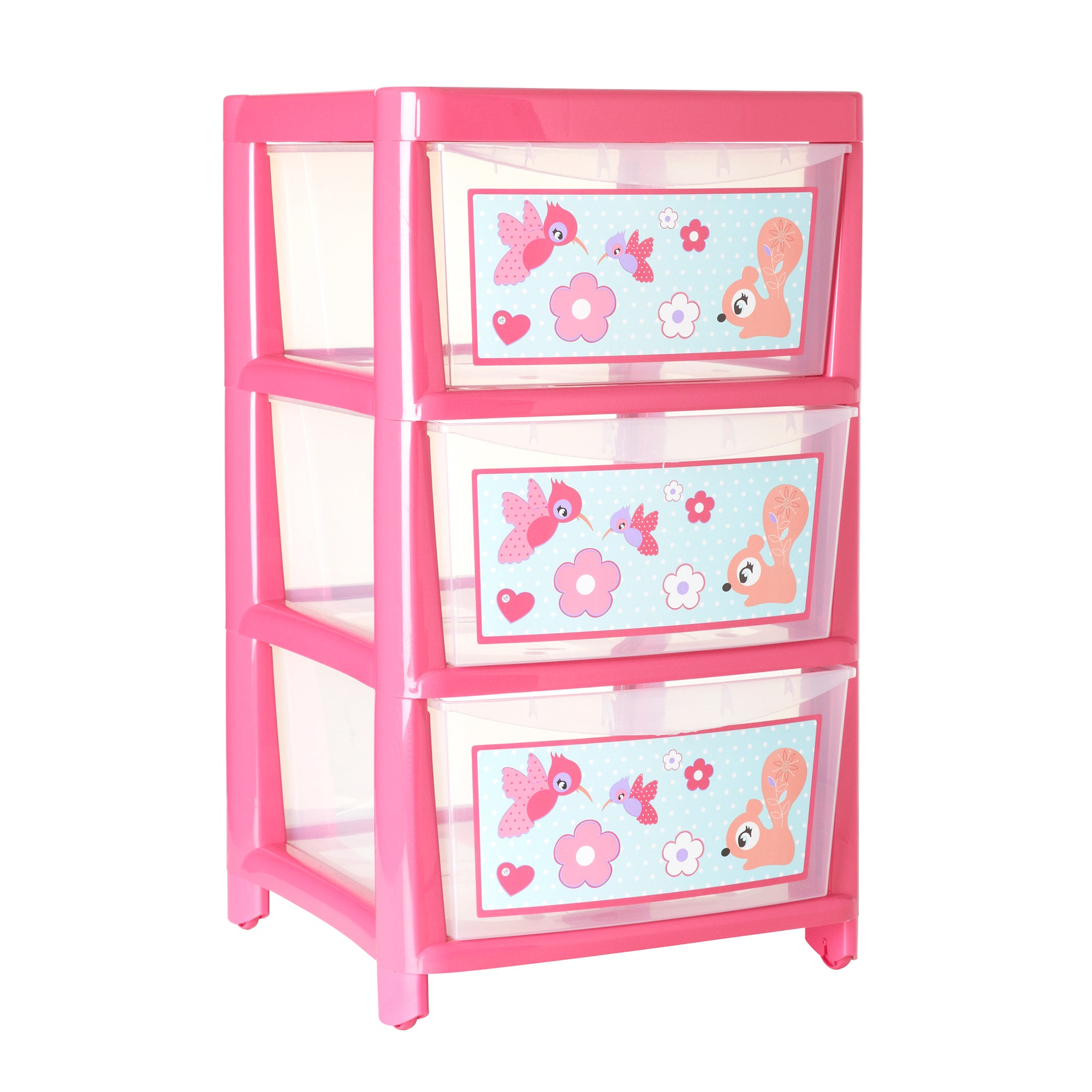 Kids Pink Nature Watch Collection 3 Drawer Tower