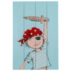 Kids Little Pirate Boy Wooden Planks Wall Art