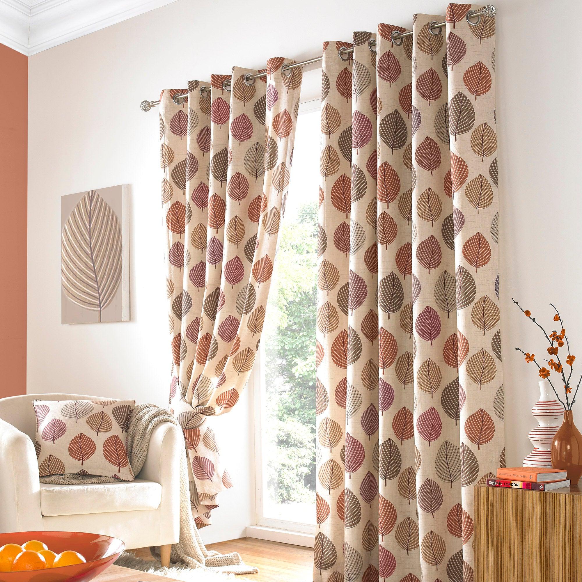 Terracotta Regan Lined Eyelet Curtains
