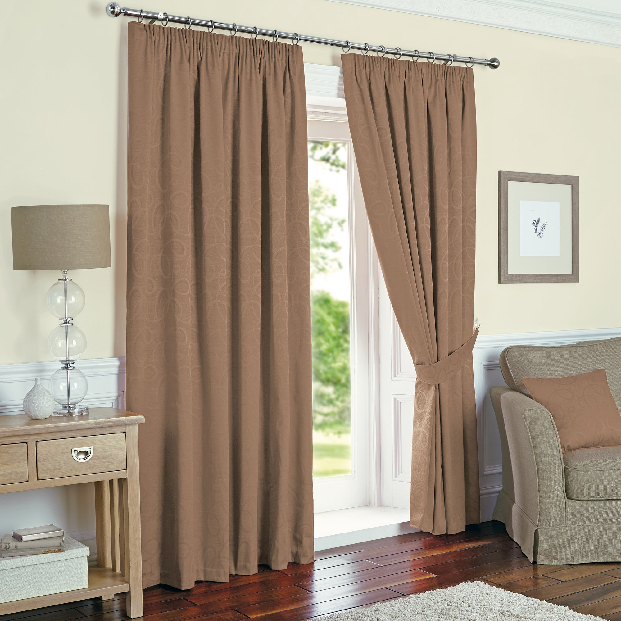 Toledo Mocha Thermal Pencil Pleat Curtains
