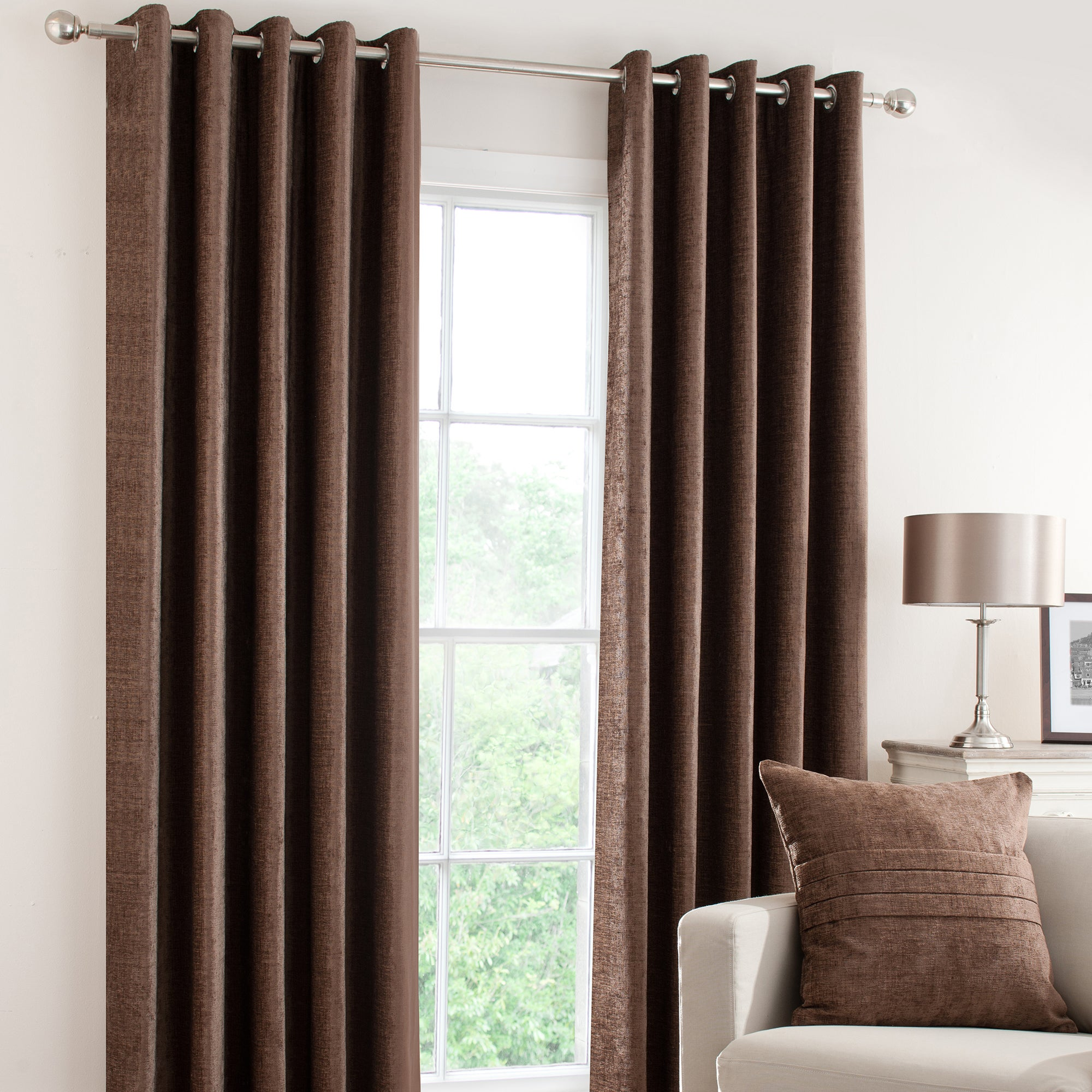 Chocolate Chenille Lined Eyelet Curtains
