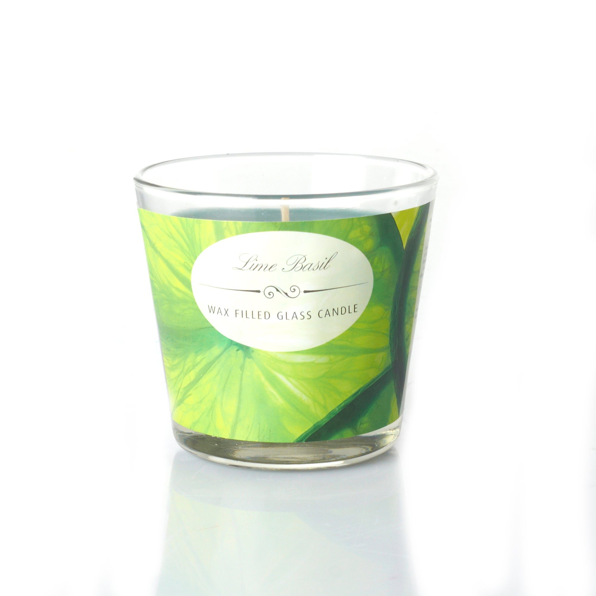 Lime Basil Wax Filled Glass Candle