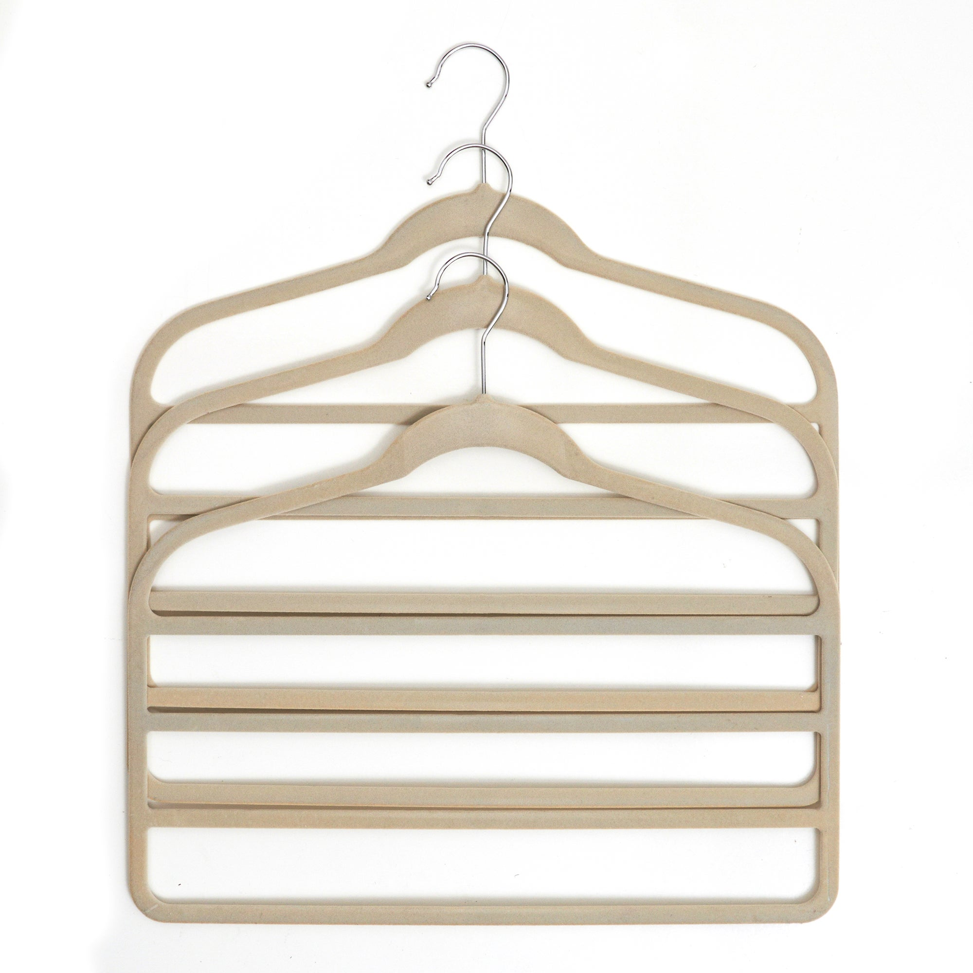 Set of 3 Cream Flocked Non Slip Trouser Hangers
