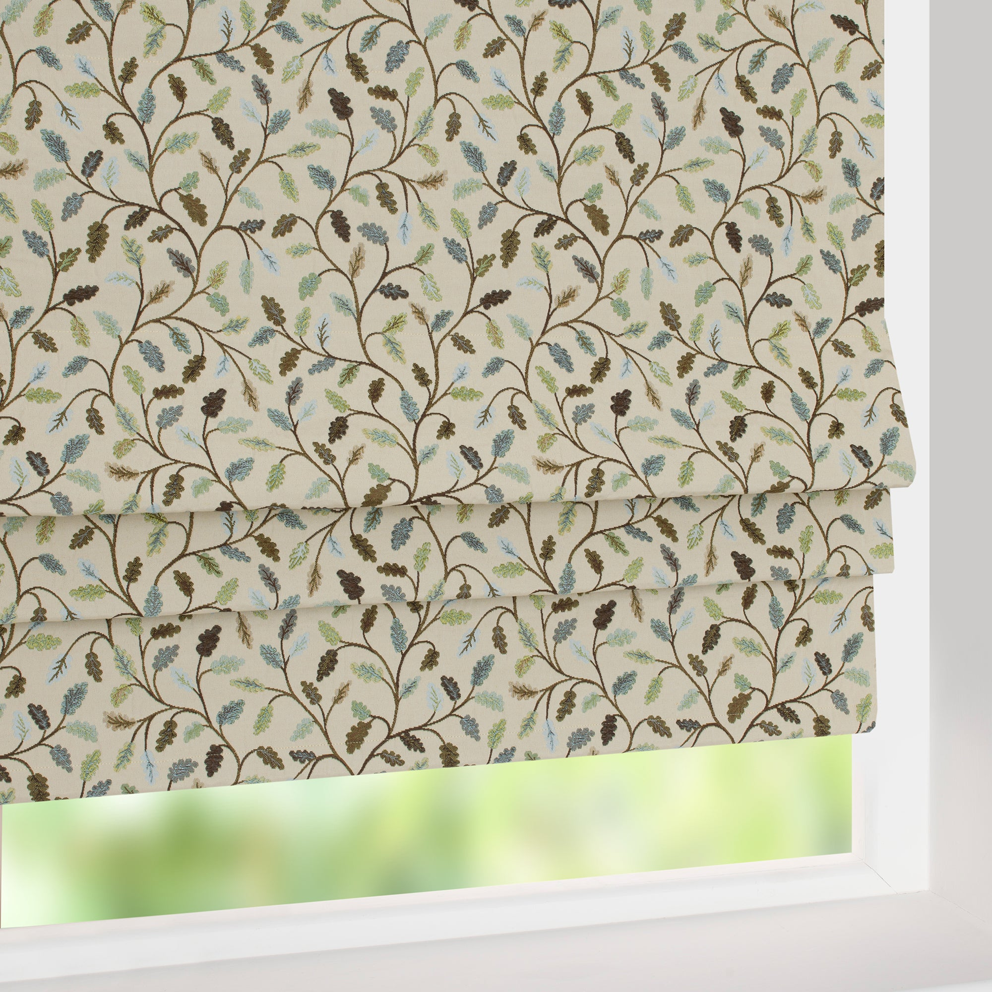 Heritage Teal Glava Blackout Roman Blind