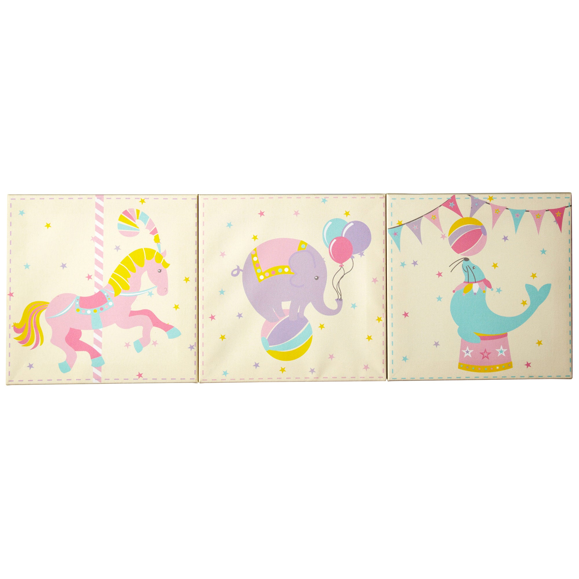 Kids Circus Parade Collection Set of 3 Canvases