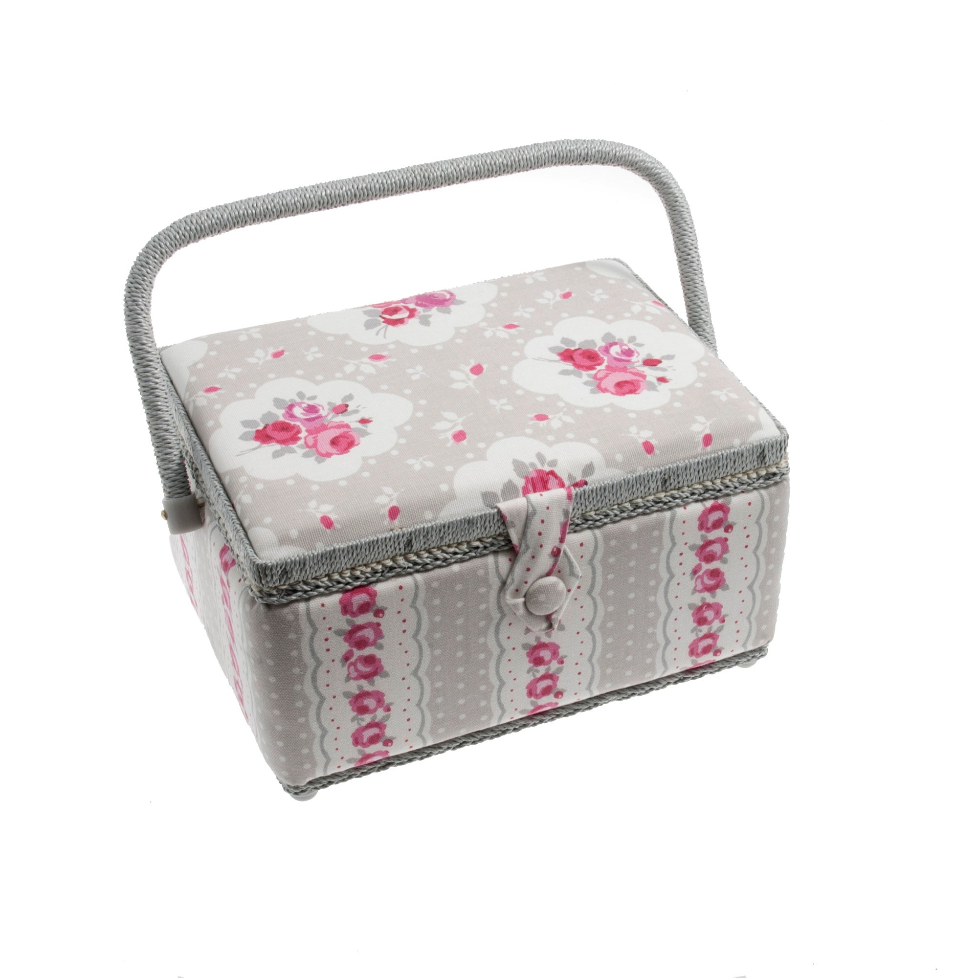Taupe Vintage Floral Sewing Basket