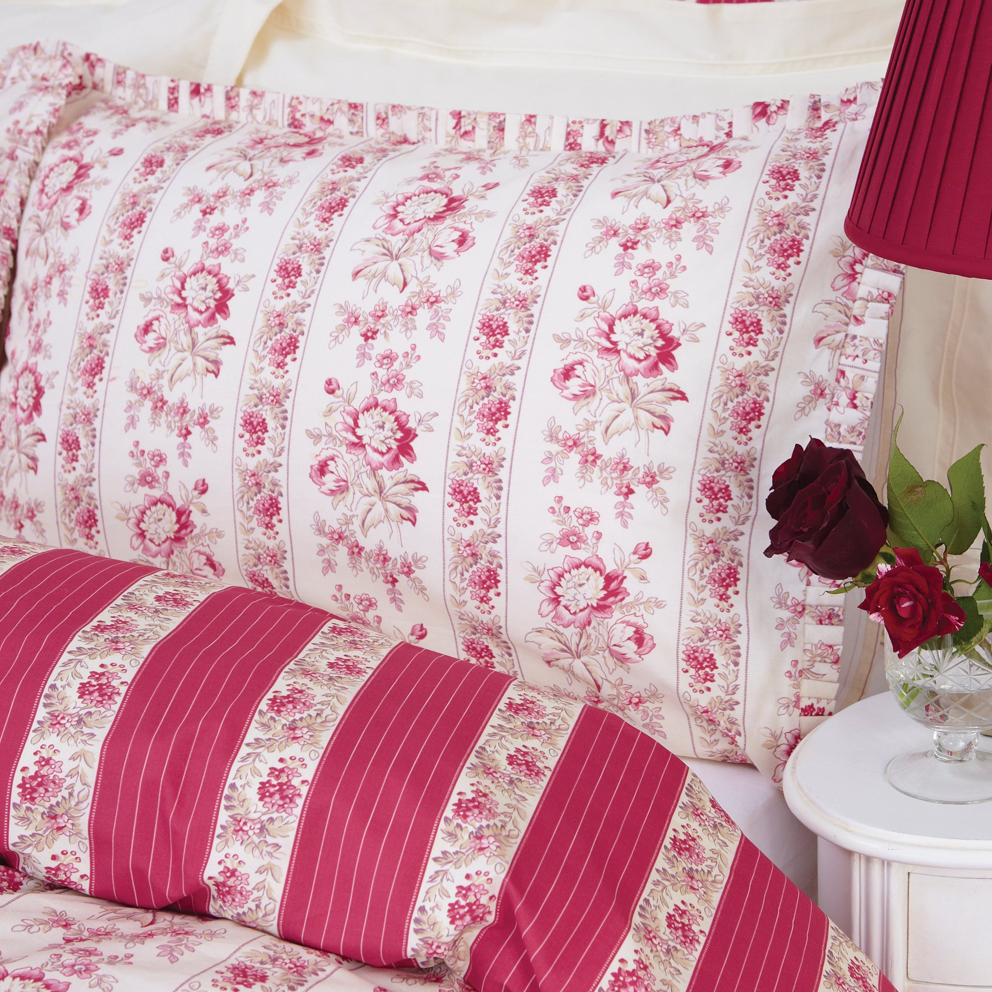 Dorma Red Martha Collection Housewife Pillowcase