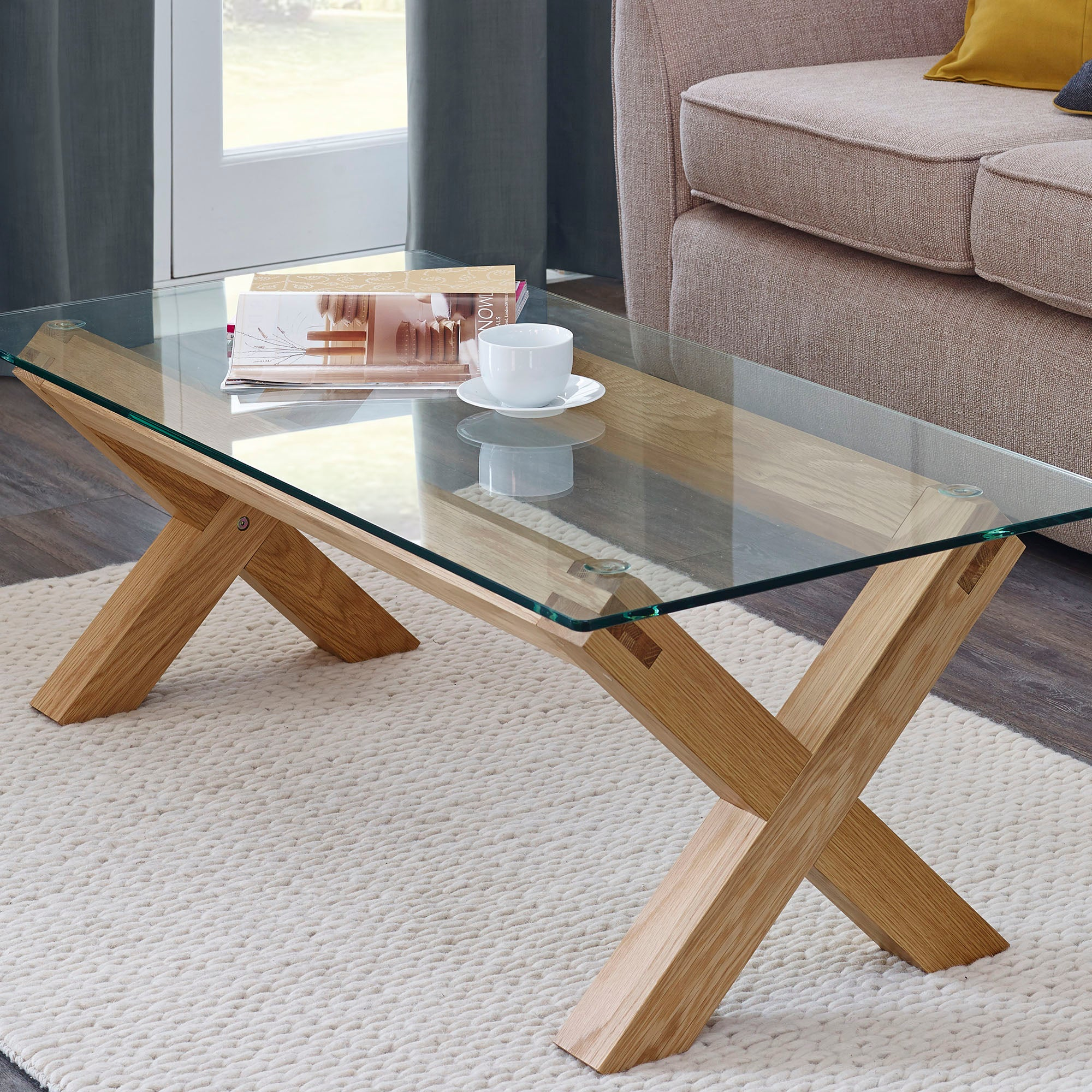 Knox Washed Oak Glass Top Table