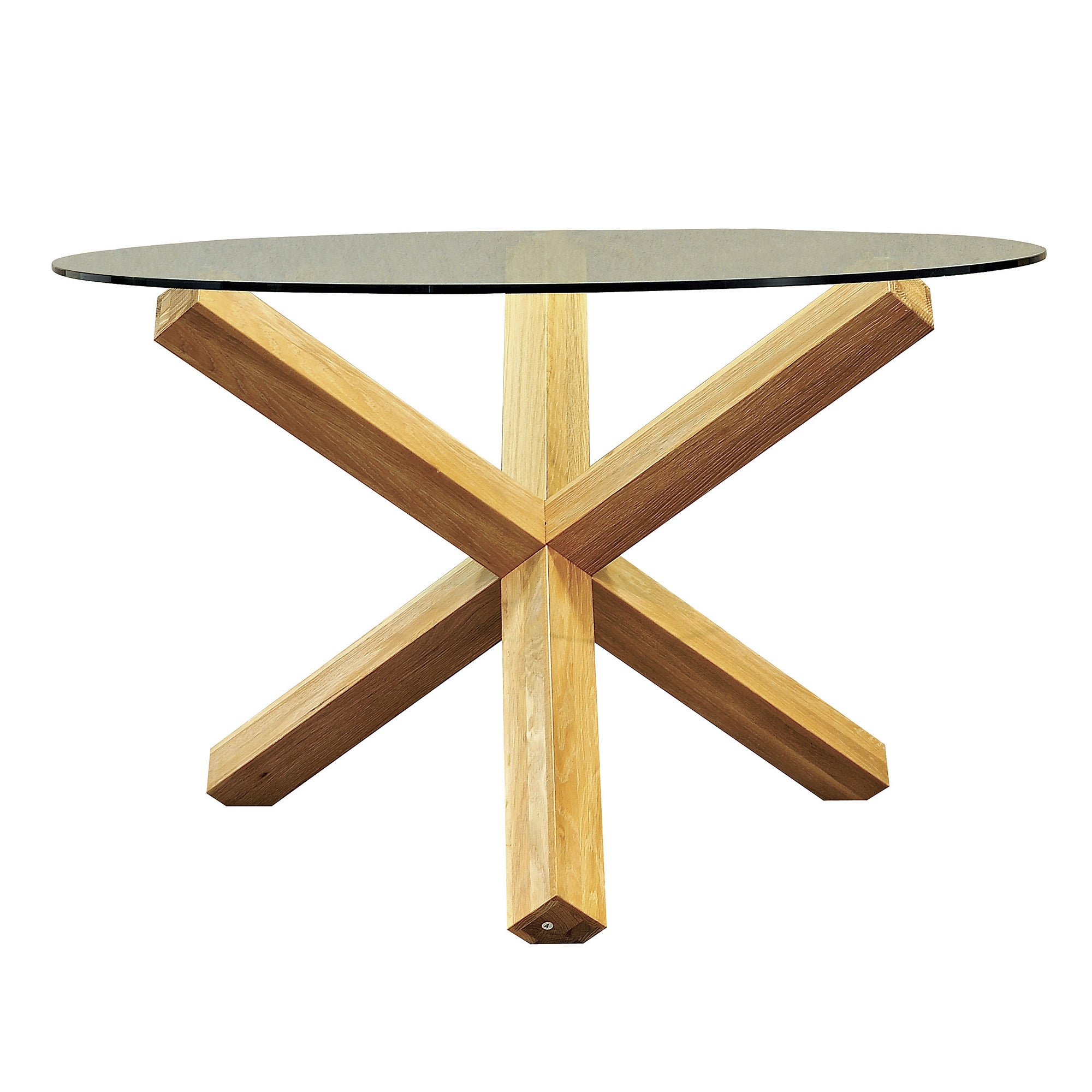 Knox Washed Oak Glass Top Round Table