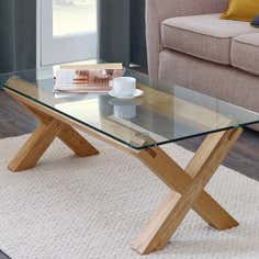 Knox Washed Oak Glass Top Coffee Table