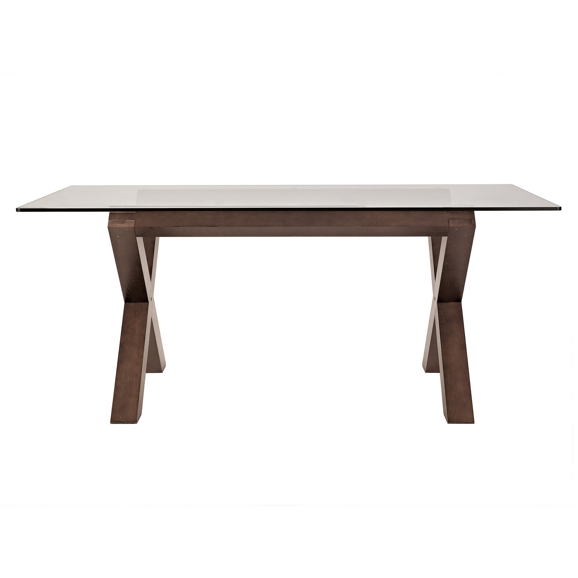 Knox Walnut Glass Top Dining Table