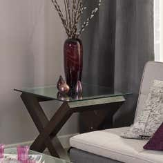 Knox Walnut Glass Top Lamp Table