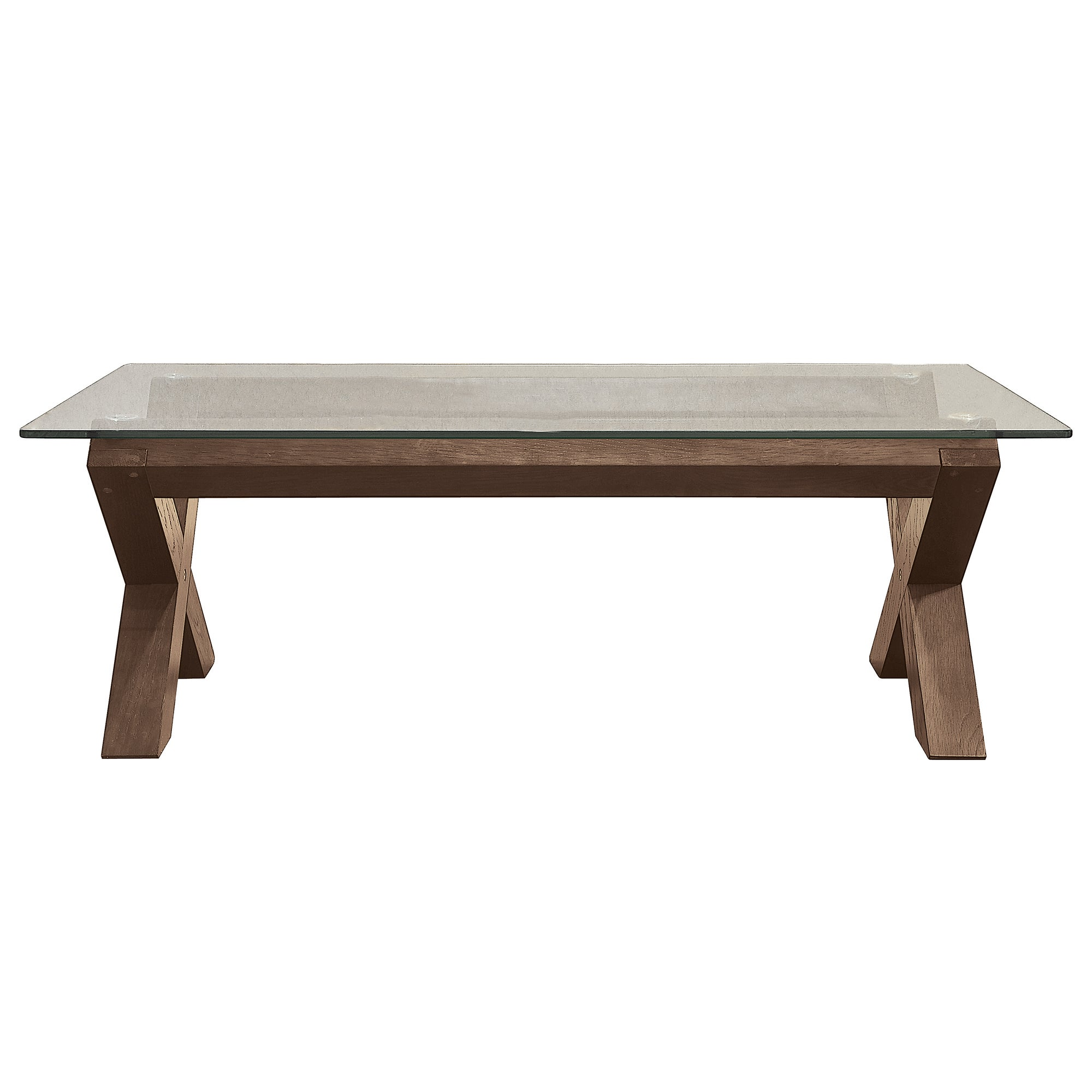 Knox Walnut Glass Top Coffee Table
