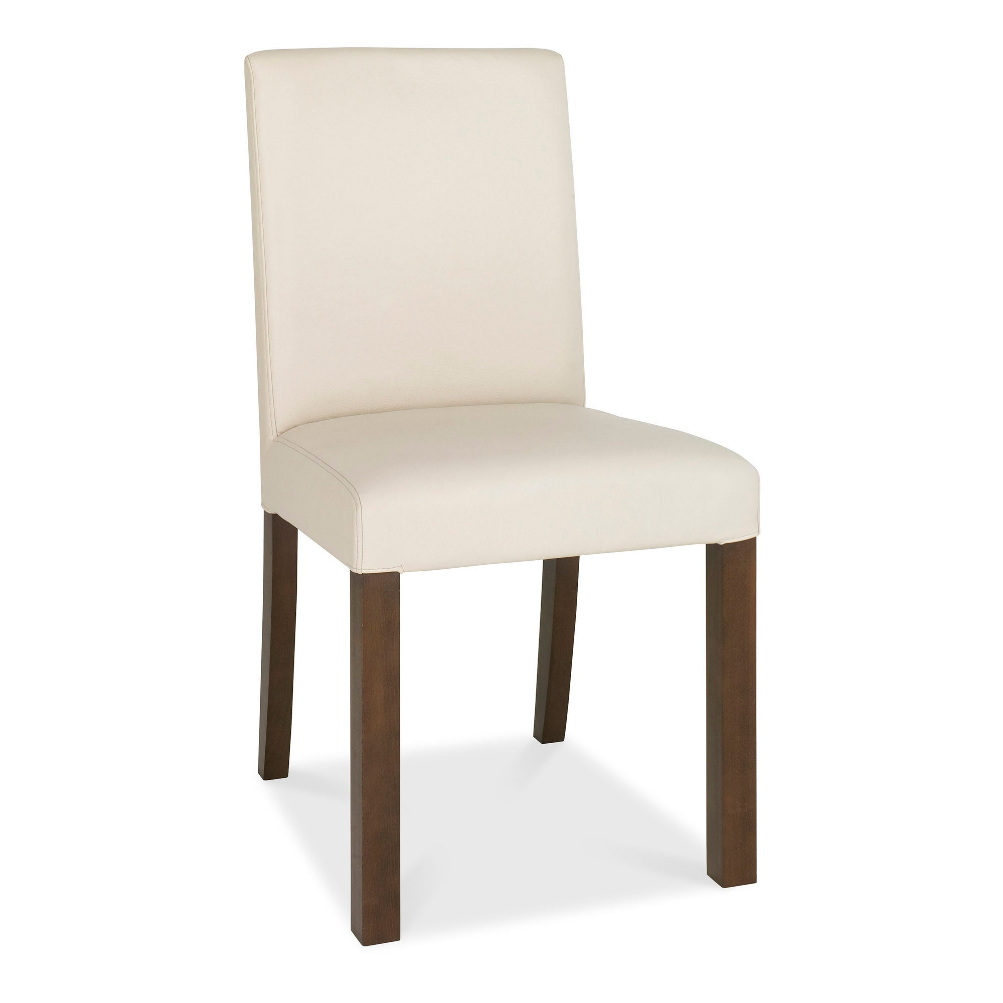Wade Walnut Pair of Ivory Faux Leather Chairs