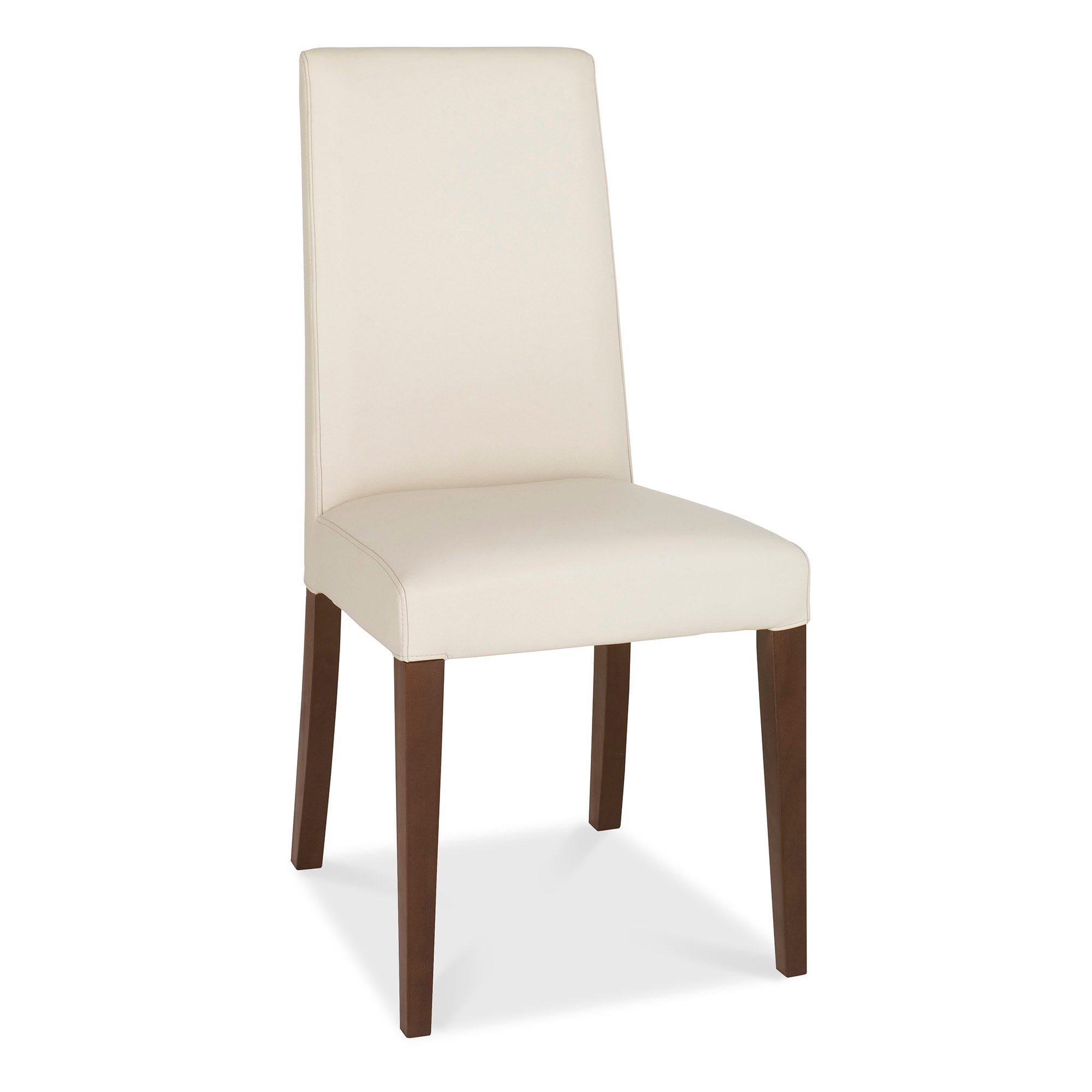 Wade Walnut Pair of Ivory Tapered Back Faux Leather Chairs