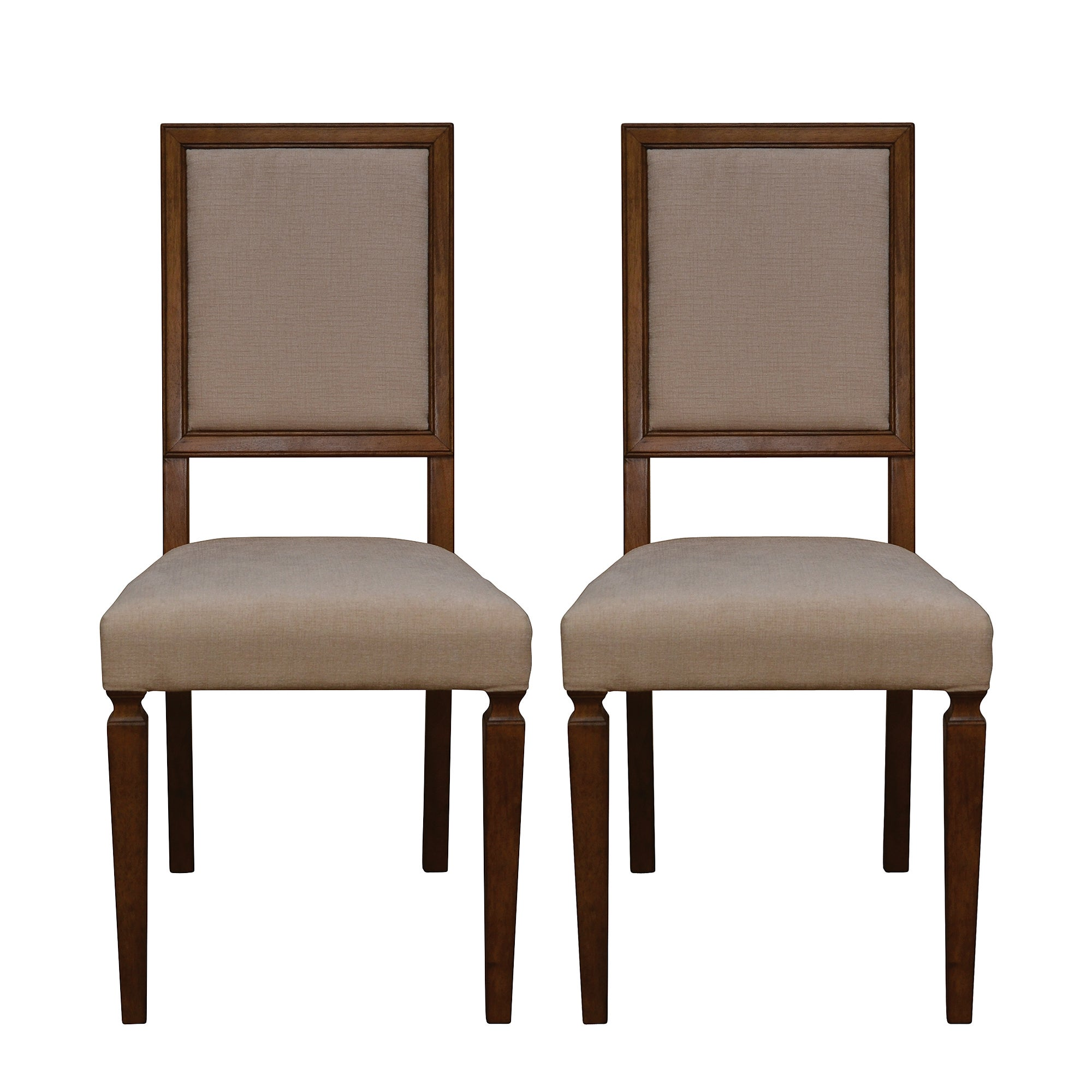 Madeline Oak Pair of Upholstered Dining Chairs